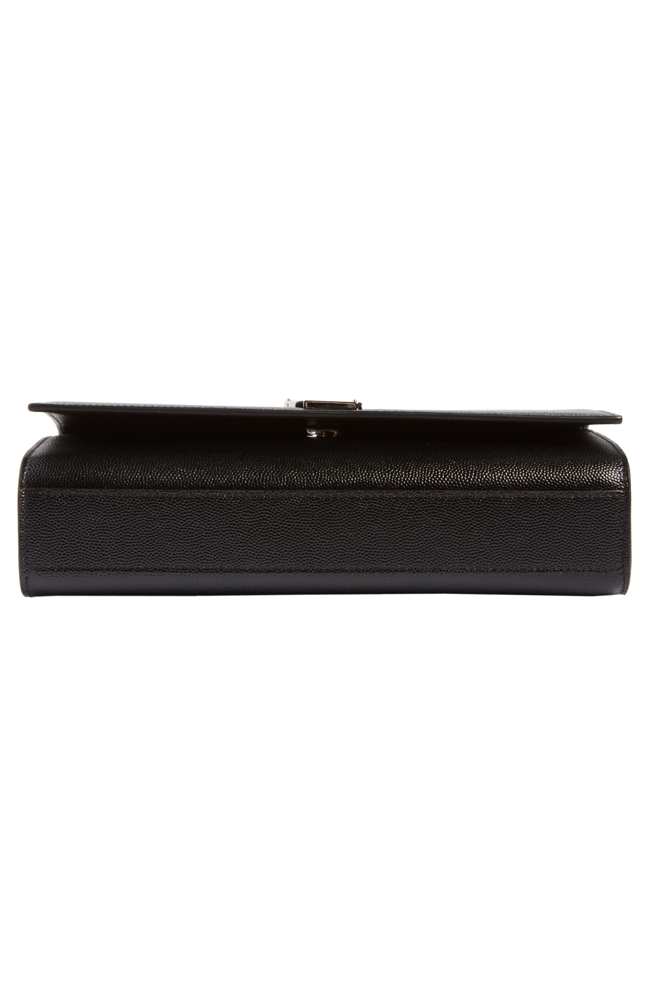 SAINT LAURENT, Medium Kate Calfskin Leather Shoulder Bag, Alternate thumbnail 6, color, NERO