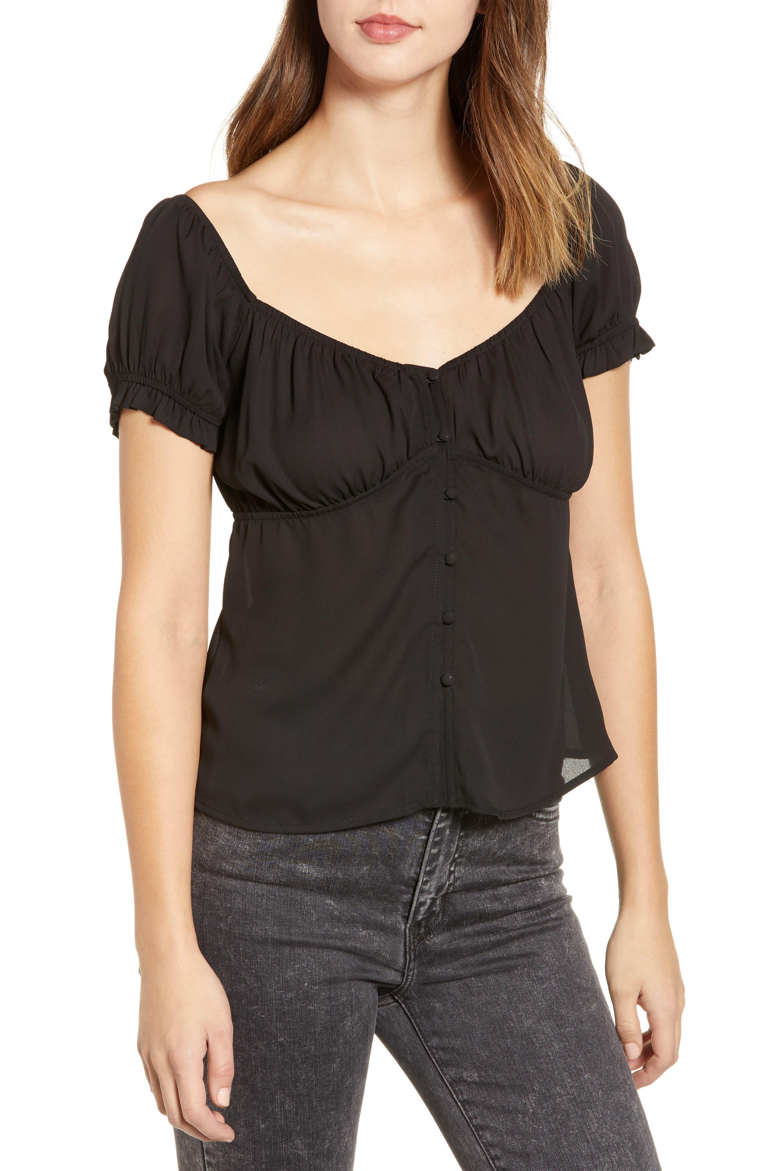 ROW A Cap Sleeve Top, Main, color, BLACK SOLID