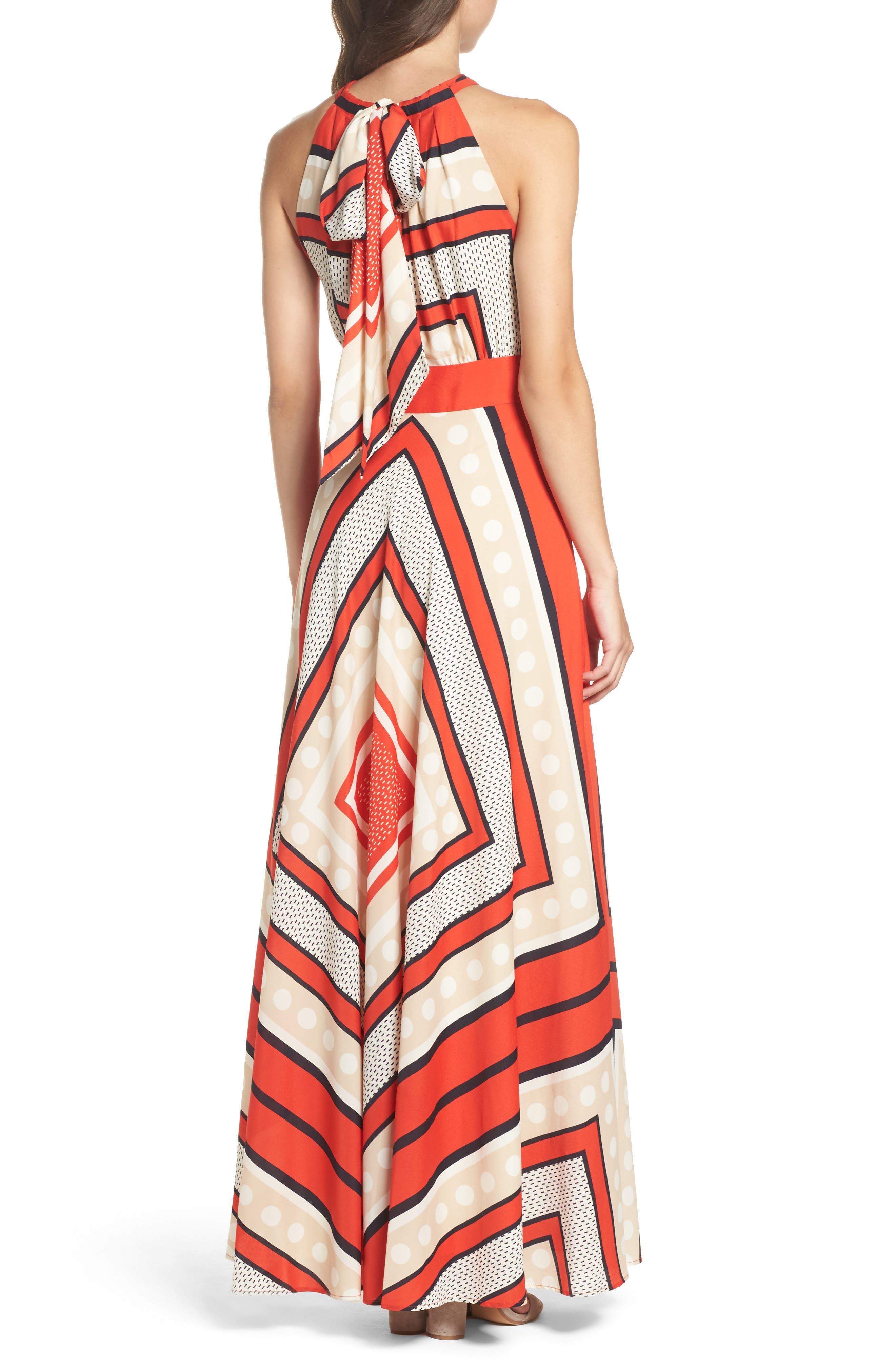 ELIZA J, Scarf Print Crêpe de Chine Fit & Flare Maxi Dress, Alternate thumbnail 2, color, MULTI