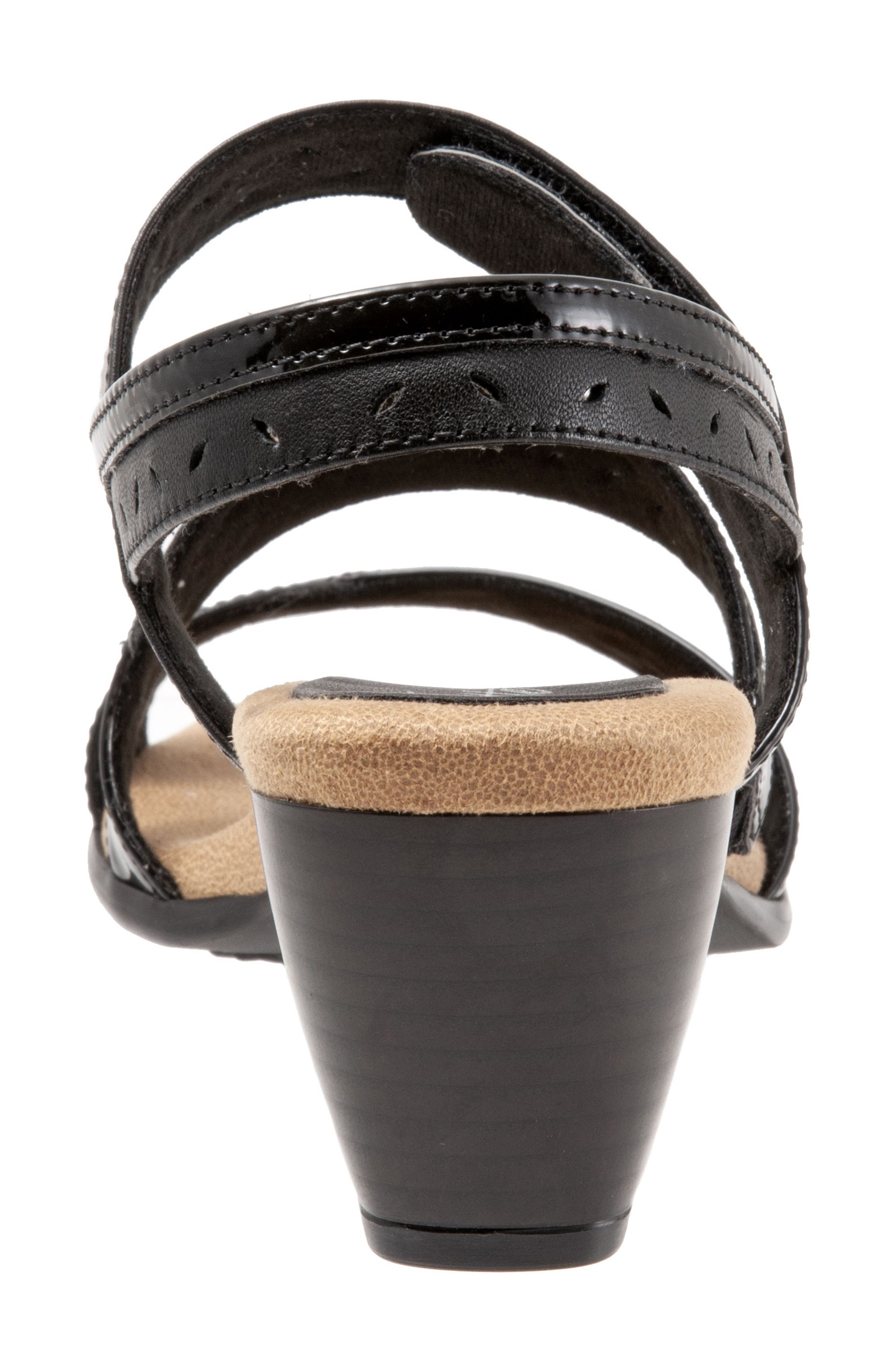 TROTTERS, Marvie Perforated Strappy Sandal, Alternate thumbnail 7, color, BLACK LEATHER