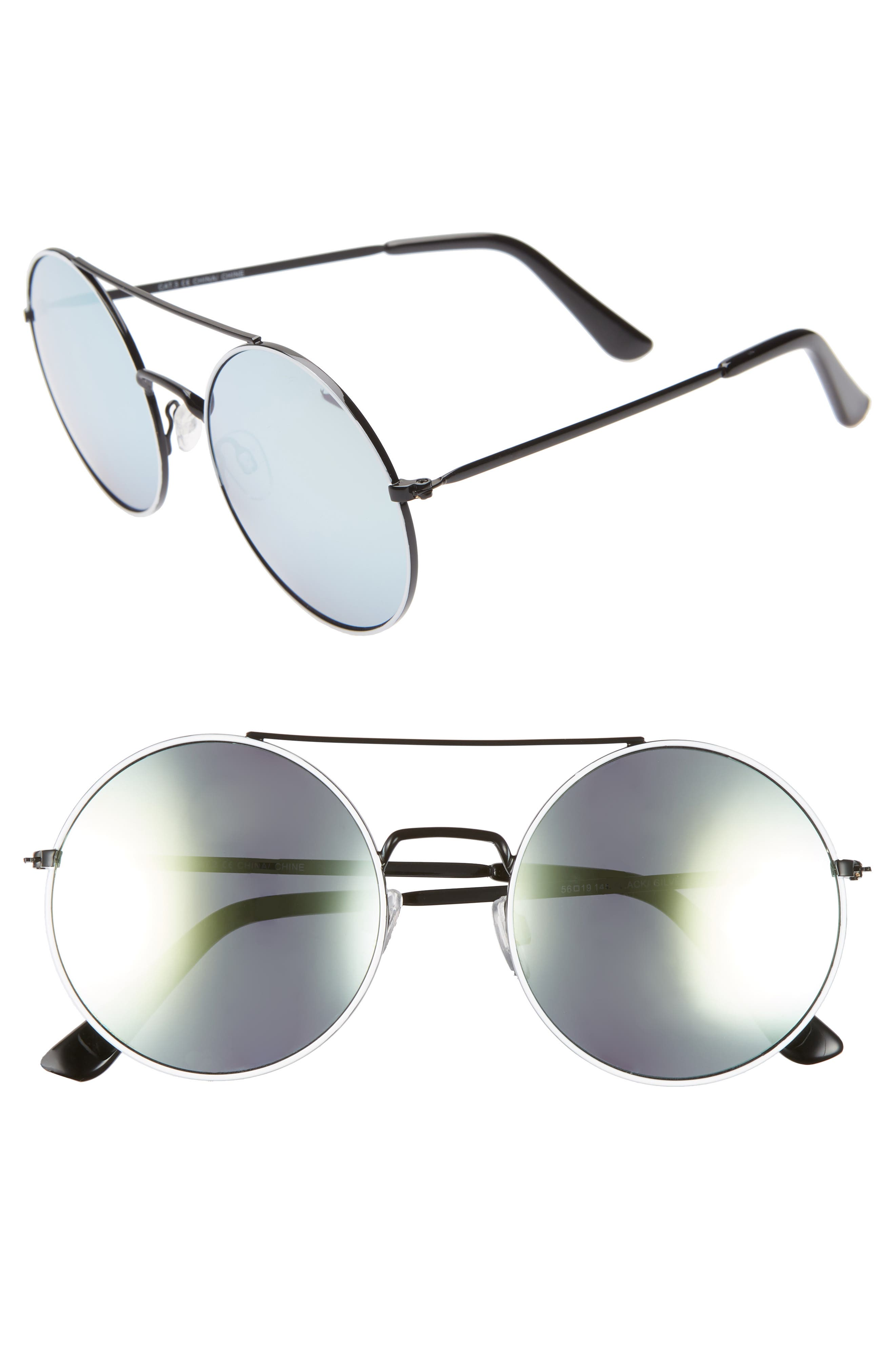 THE RAIL Tori 55mm Round Sunglasses, Main, color, BLACK/ SILVER