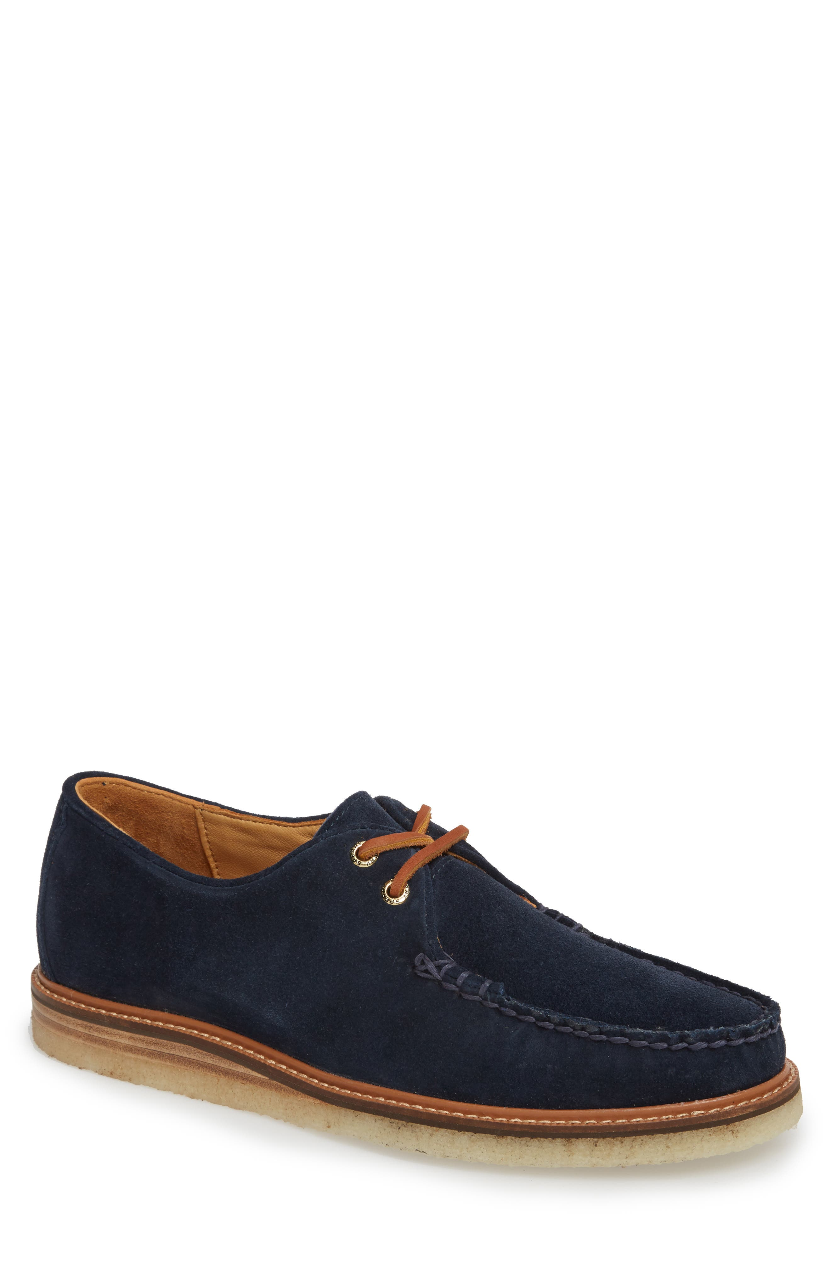 SPERRY, Gold Cup Captain's Crepe Sole Oxford, Main thumbnail 1, color, BLUE LEATHER/ SUEDE
