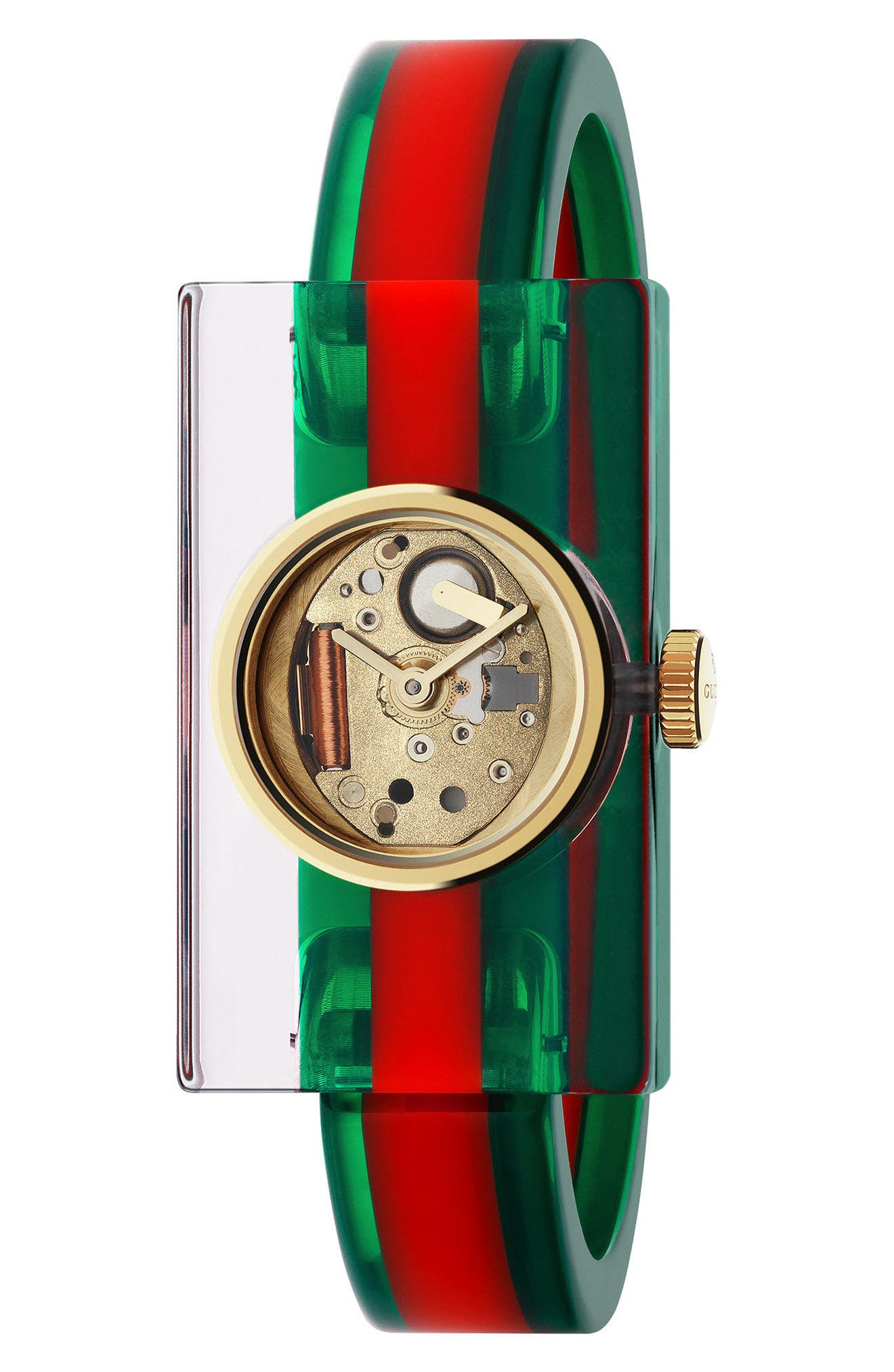 GUCCI, Plexiglas Bracelet Watch, 24mm x 40mm, Main thumbnail 1, color, GREEN/ RED/ GOLD