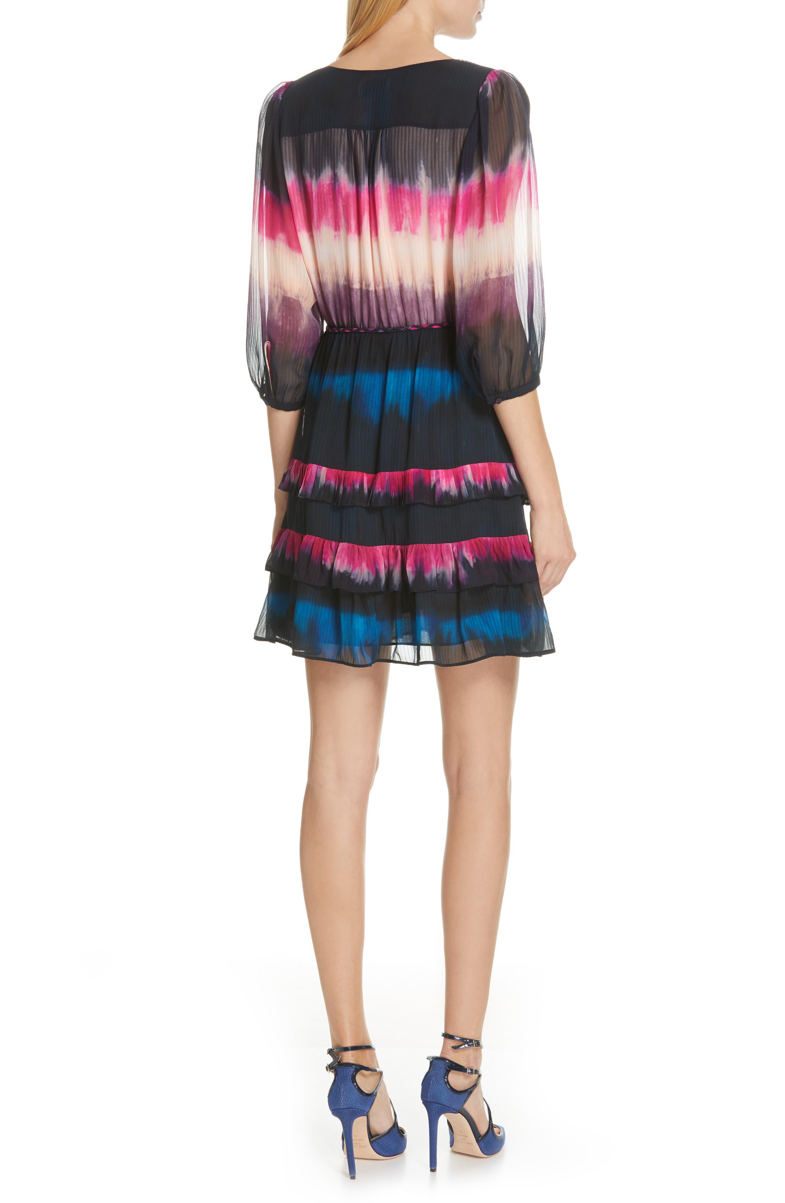 TANYA TAYLOR, Valeria Tie Dye Silk Faux Wrap Dress, Alternate thumbnail 2, color, TIE DYE STRIPE