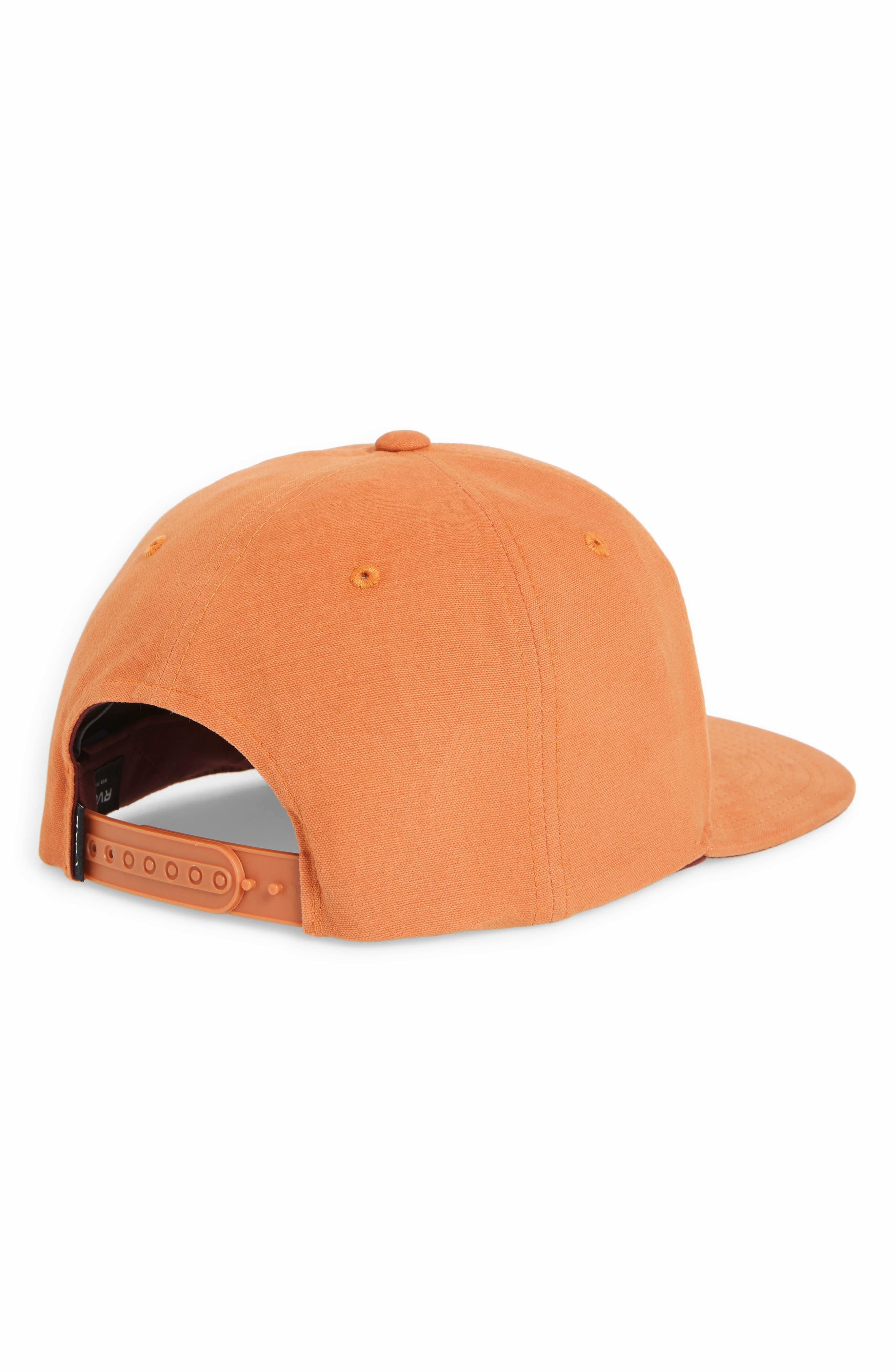 RVCA, VA Snapback II Snapback Hat, Alternate thumbnail 2, color, BRICK RED