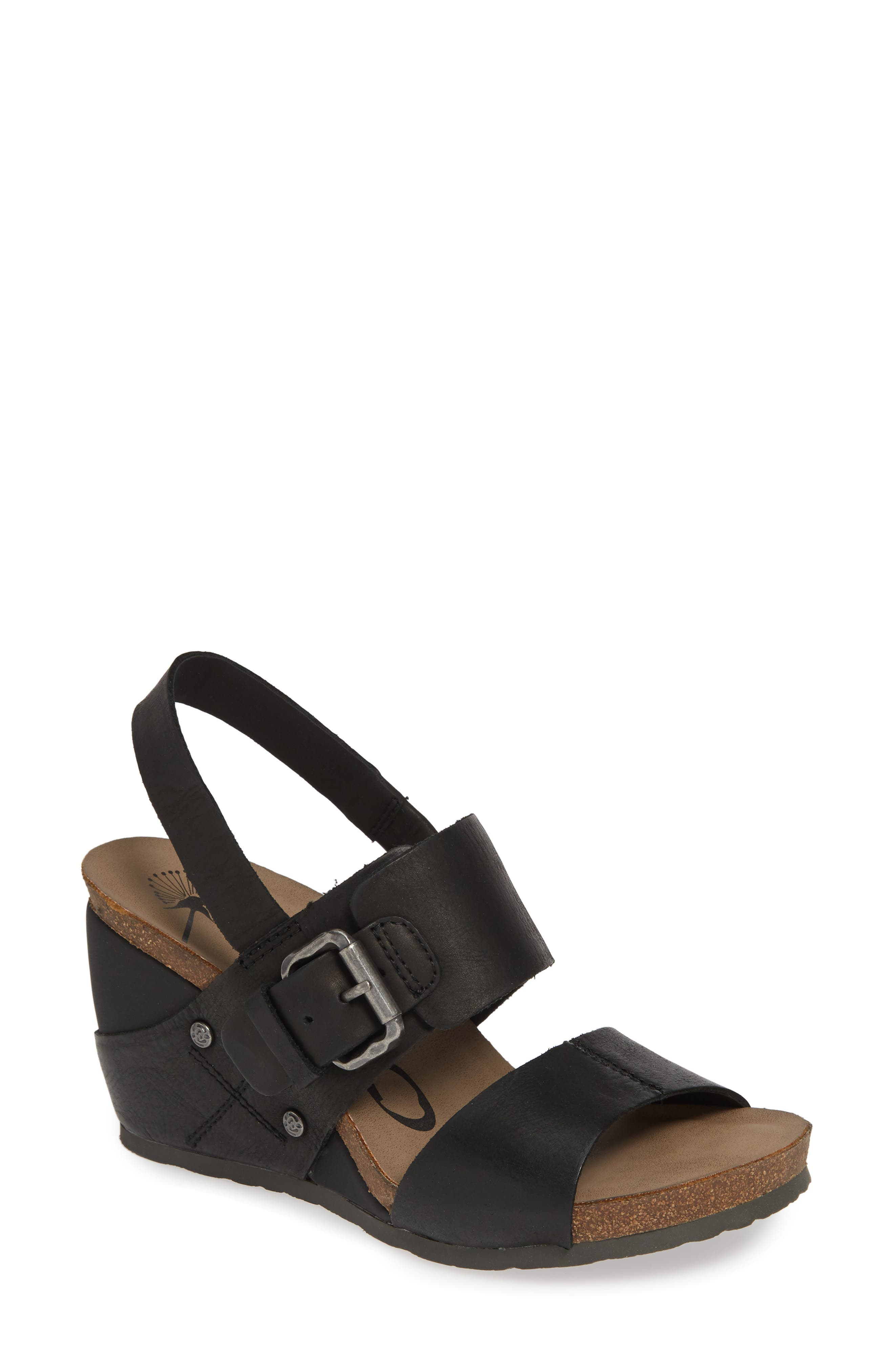 OTBT, Overnight Wedge Sandal, Main thumbnail 1, color, BLACK LEATHER