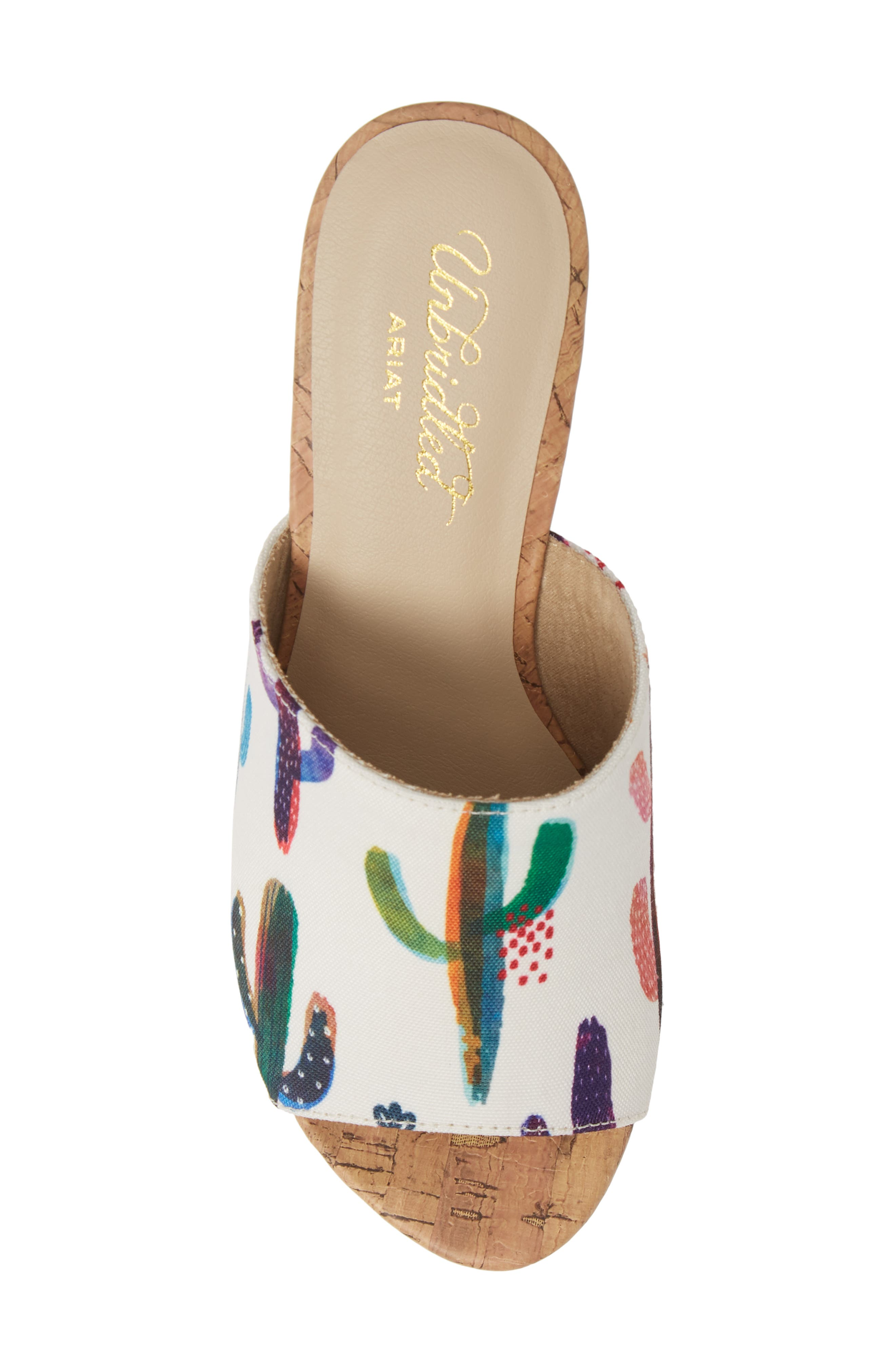 ARIAT, Layla Wedge Slide Sandal, Alternate thumbnail 5, color, CACTUS PRINT FABRIC