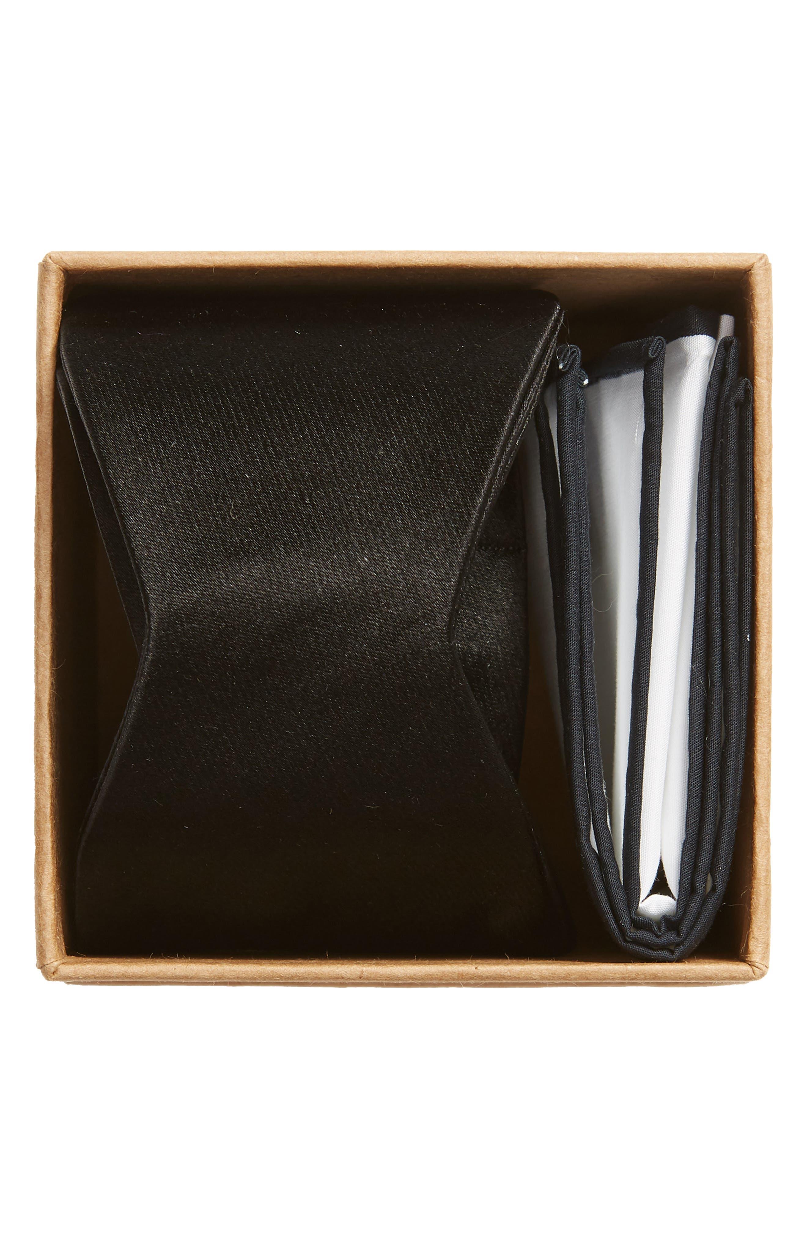 THE TIE BAR, Silk Satin Bow Tie & Cotton Pocket Square Set, Alternate thumbnail 2, color, 001