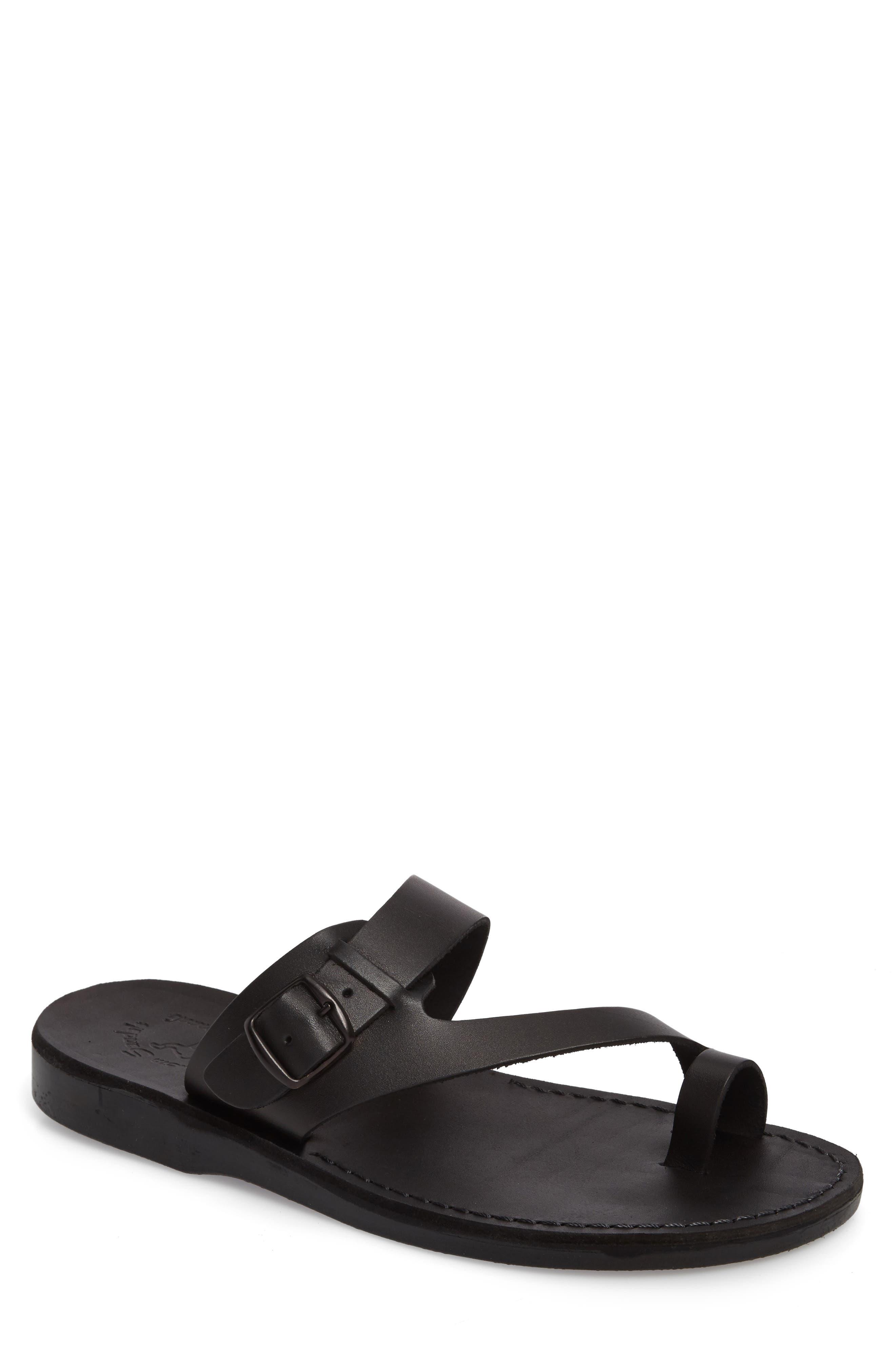 JERUSALEM SANDALS Abner Toe Loop Sandal, Main, color, BLACK LEATHER