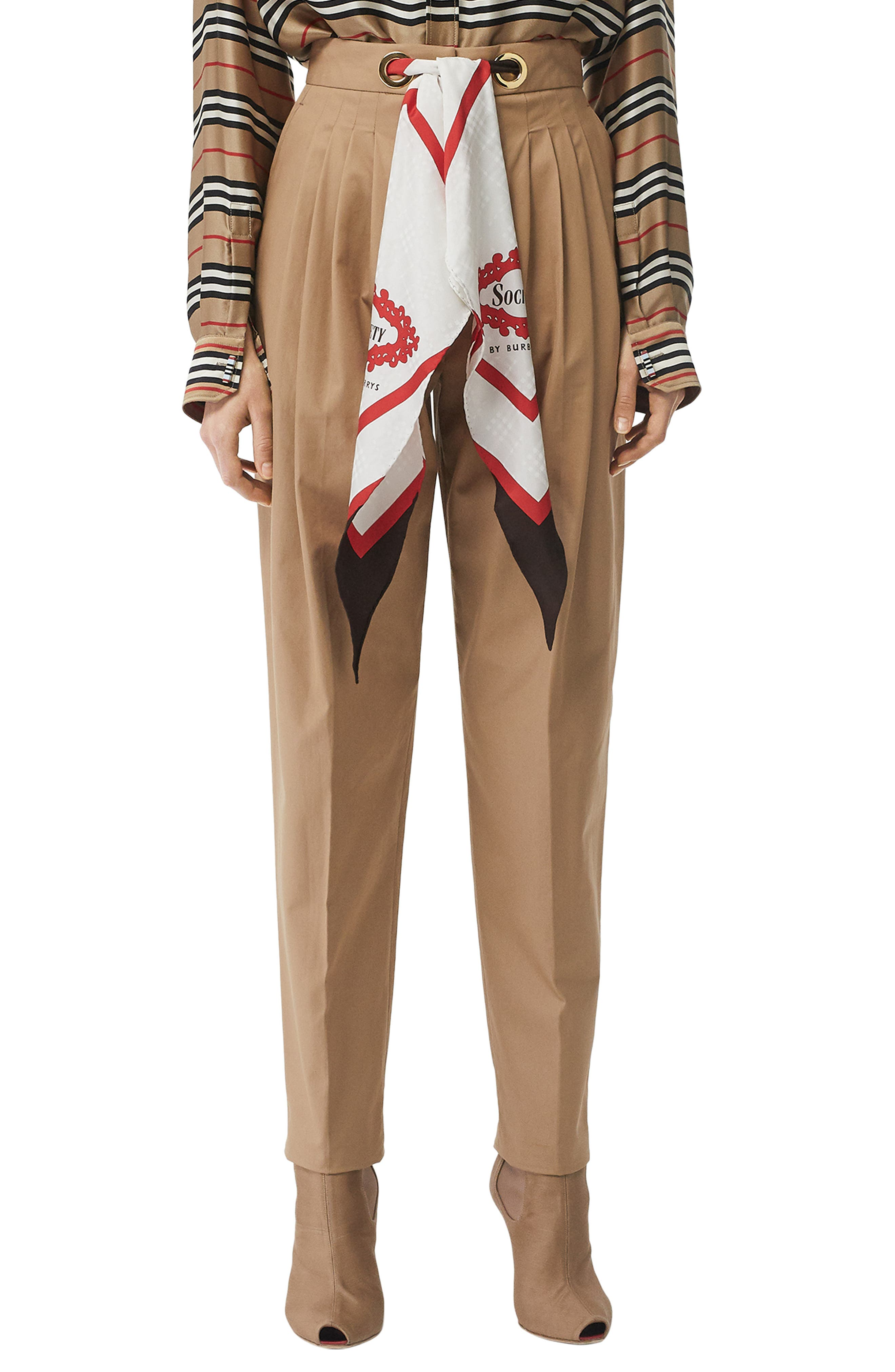 BURBERRY Scarf Belt Cotton Trousers, Main, color, DRIFTWOOD