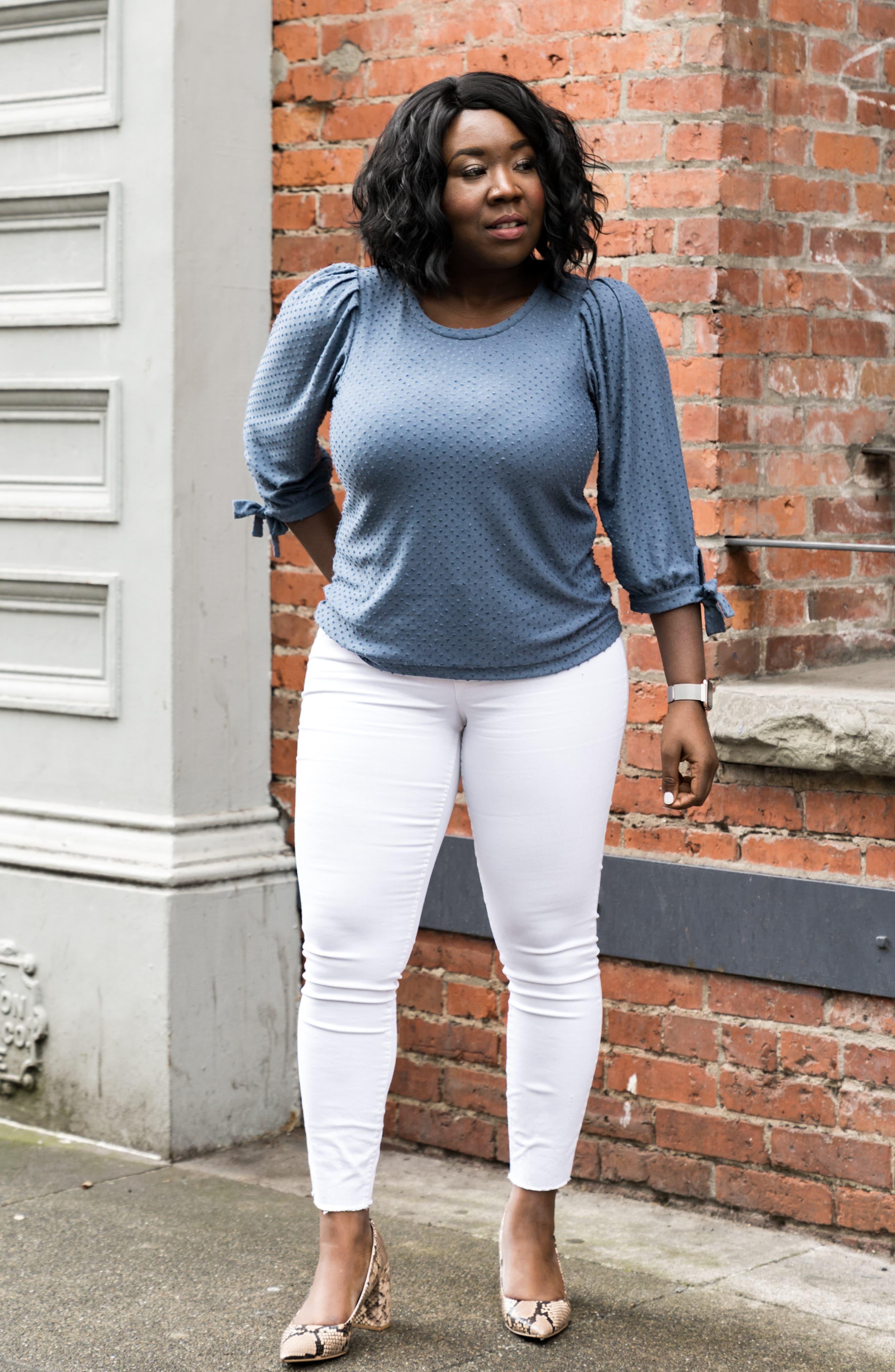 GIBSON, x International Women's Day Ruthie Clip Dot Tie Sleeve Blouse, Alternate thumbnail 10, color, DENIM