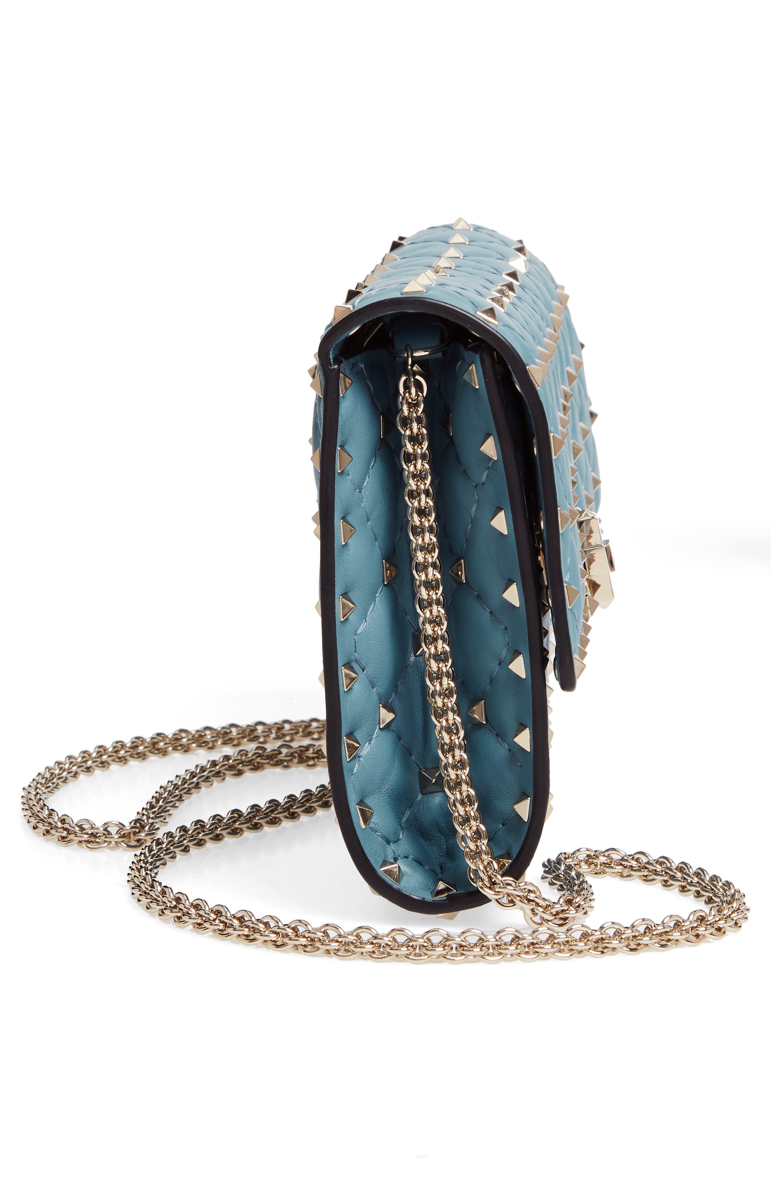 VALENTINO GARAVANI, Rockstud Matelassé Quilted Leather Crossbody Bag, Alternate thumbnail 5, color, ATLANTIQUE