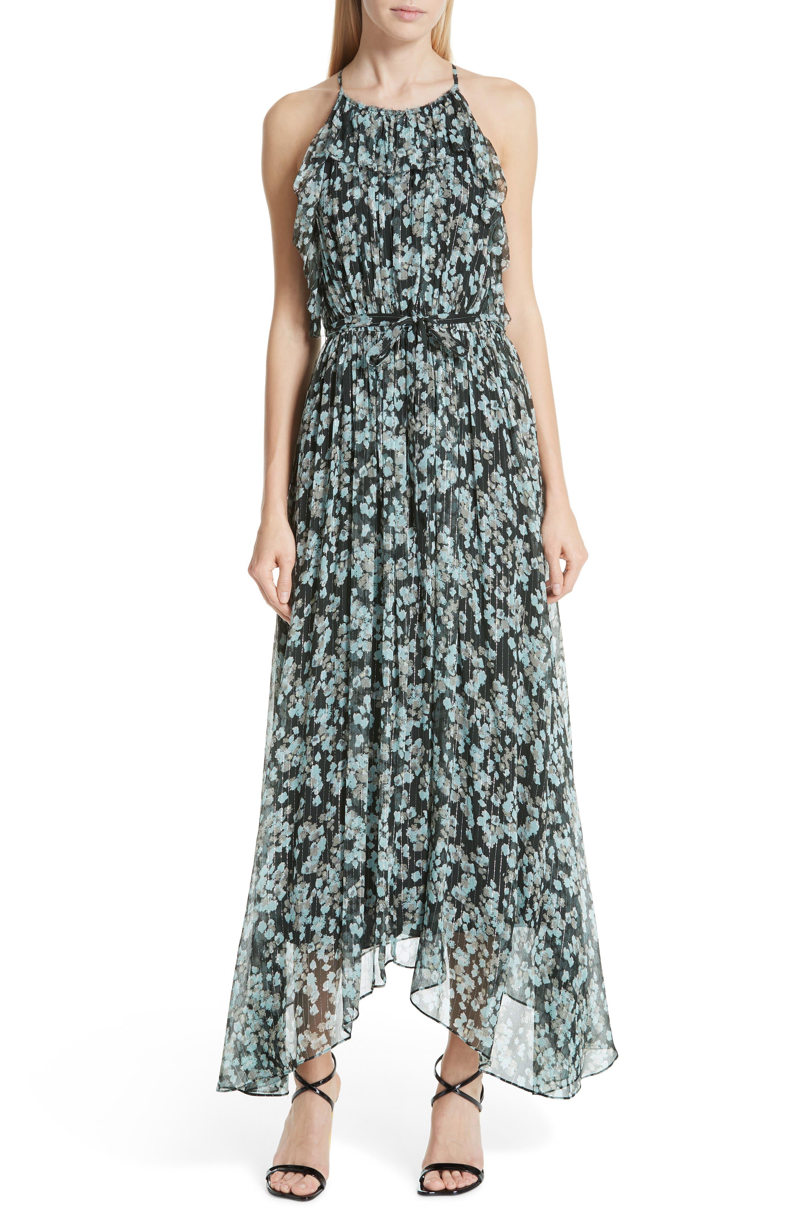 Jason Wu Metallic Floral Print Silk Maxi Dress, Green