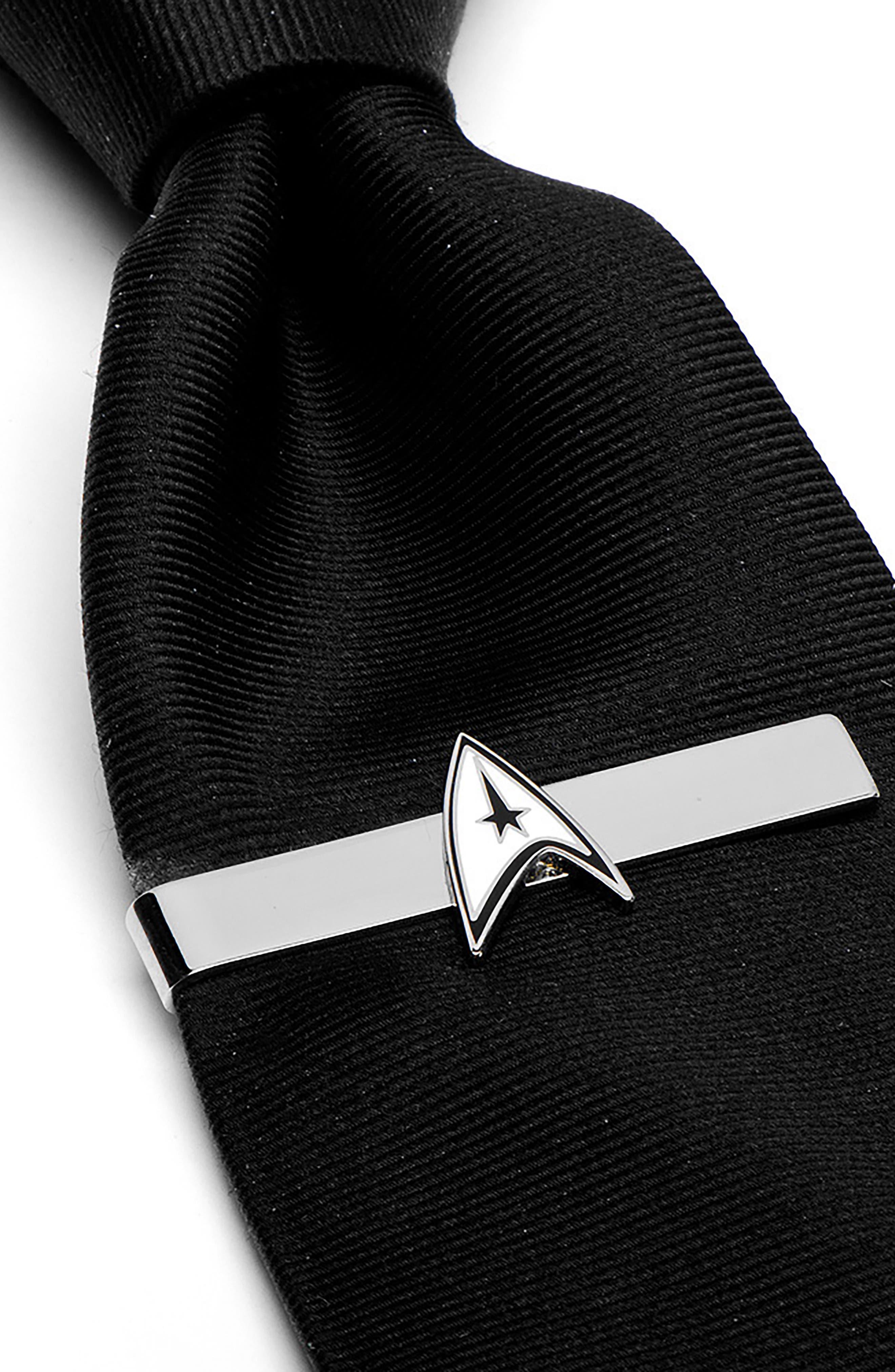 CUFFLINKS, INC., 'Star Trek' Delta Shield Tie Bar, Alternate thumbnail 2, color, SILVER