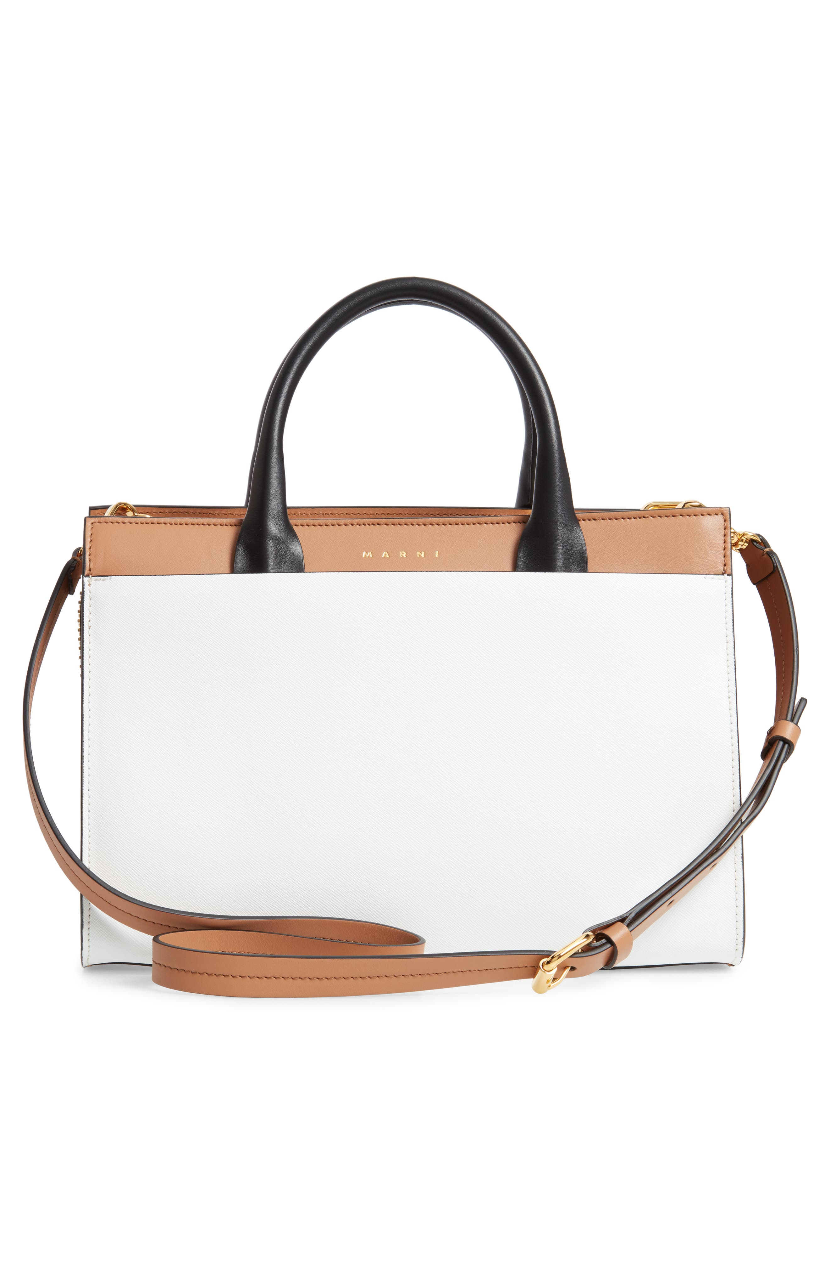 MARNI, Medium Law Colorblock Top Handle Satchel, Alternate thumbnail 3, color, POMPEII/ LIMESTONE/ BLACK