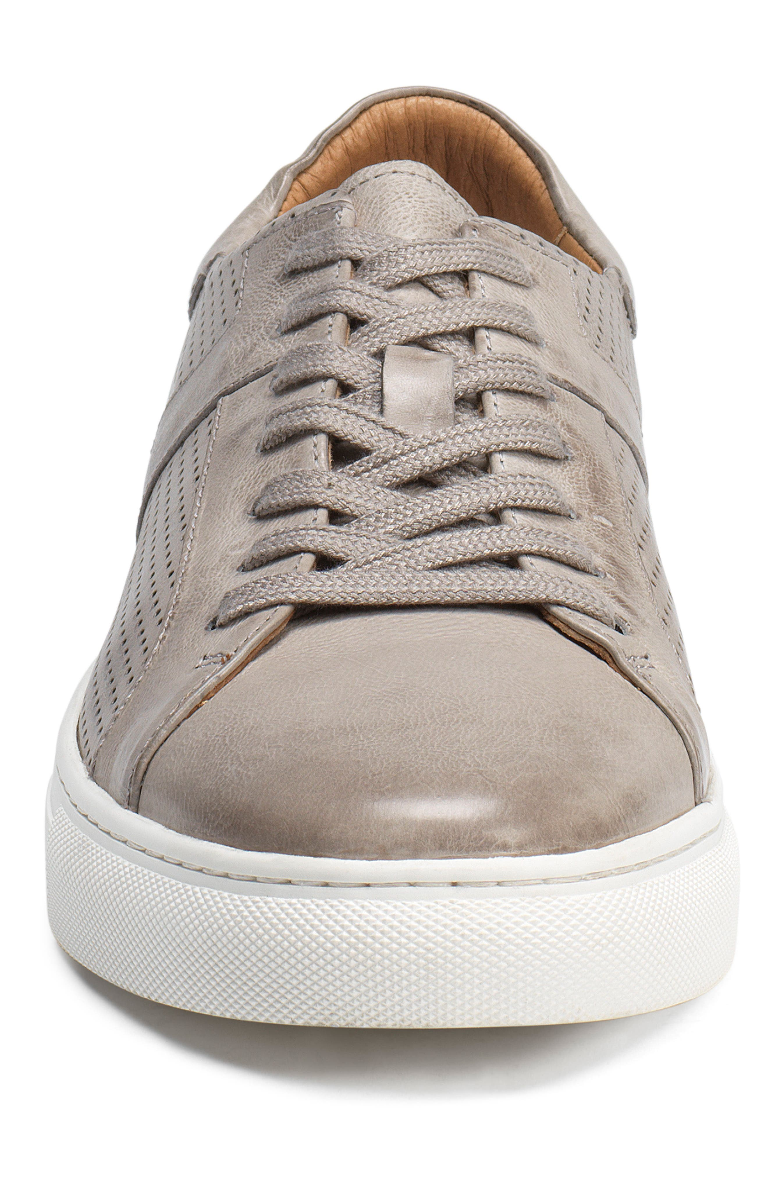 TRASK, Aaron Sneaker, Alternate thumbnail 4, color, LIGHT GREY LEATHER