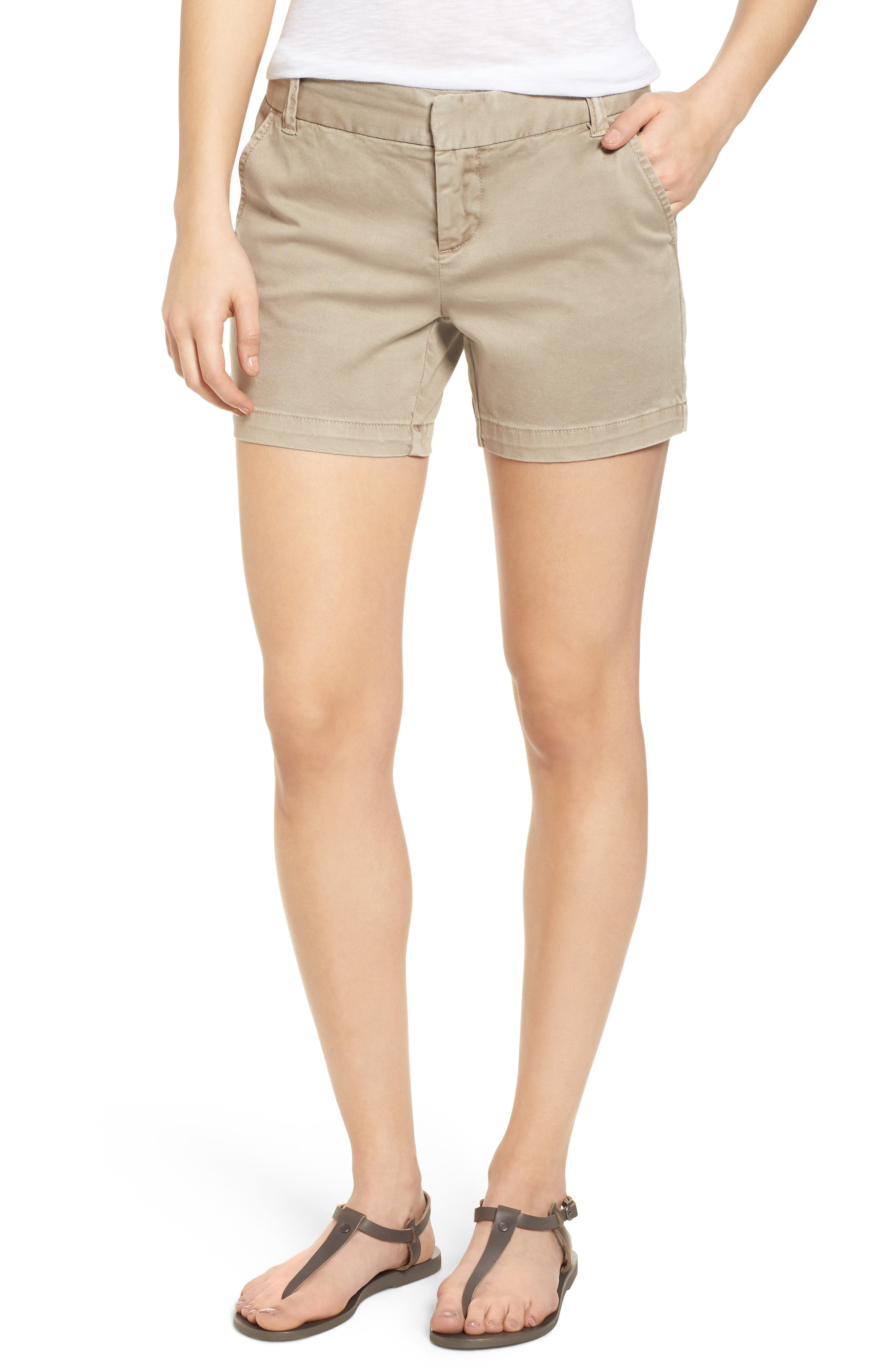 CASLON<SUP>®</SUP>, Cotton Twill Shorts, Main thumbnail 1, color, TAN COBBLESTONE