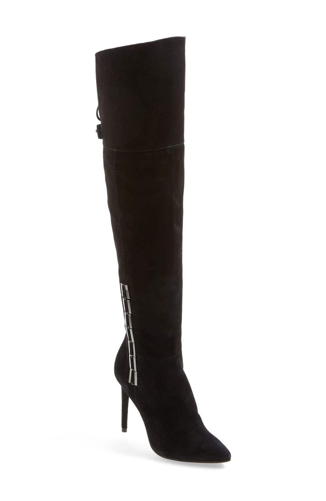DOLCE VITA 'Inara' Over the Knee Pointy Toe Suede Boot, Main, color, 001