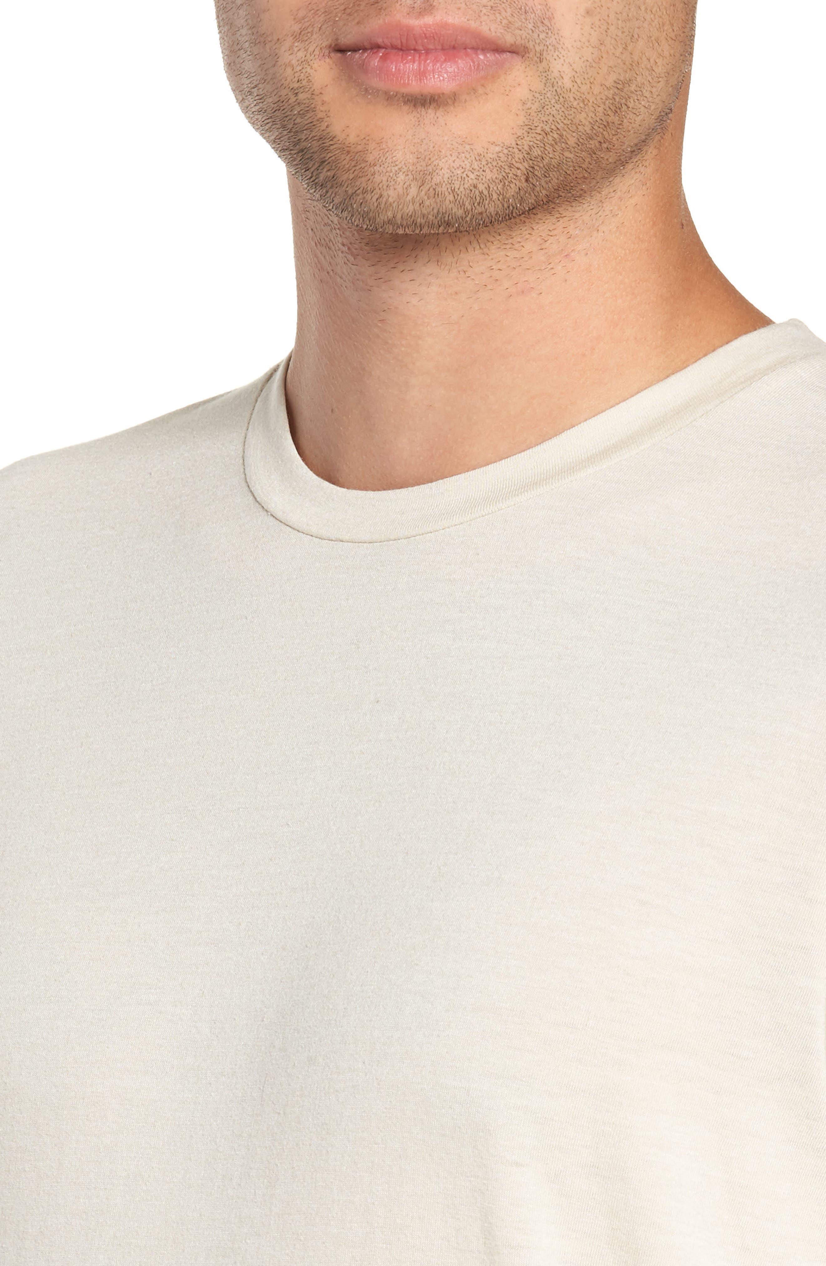 GOODLIFE, Scallop Triblend Crewneck T-Shirt, Alternate thumbnail 4, color, OYSTER