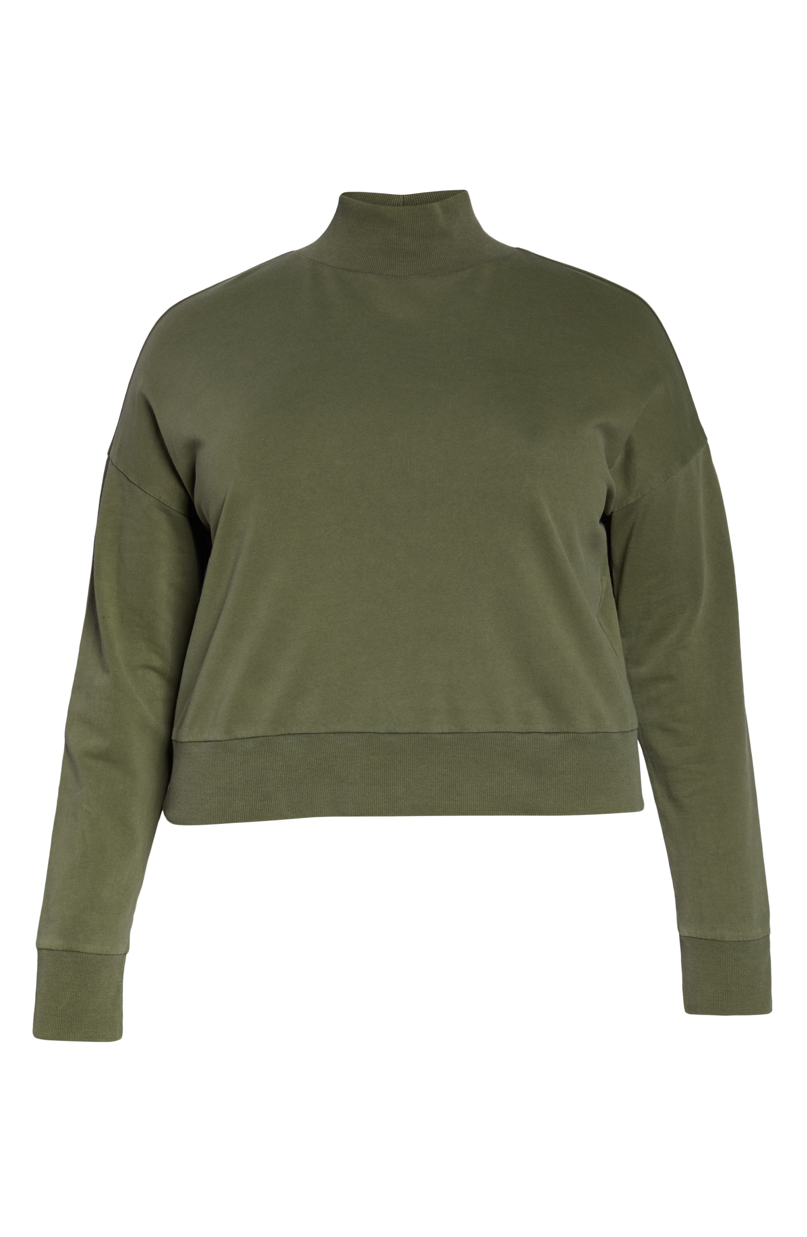 BP., Washed Mock Neck Sweatshirt, Alternate thumbnail 12, color, OLIVE BURNT