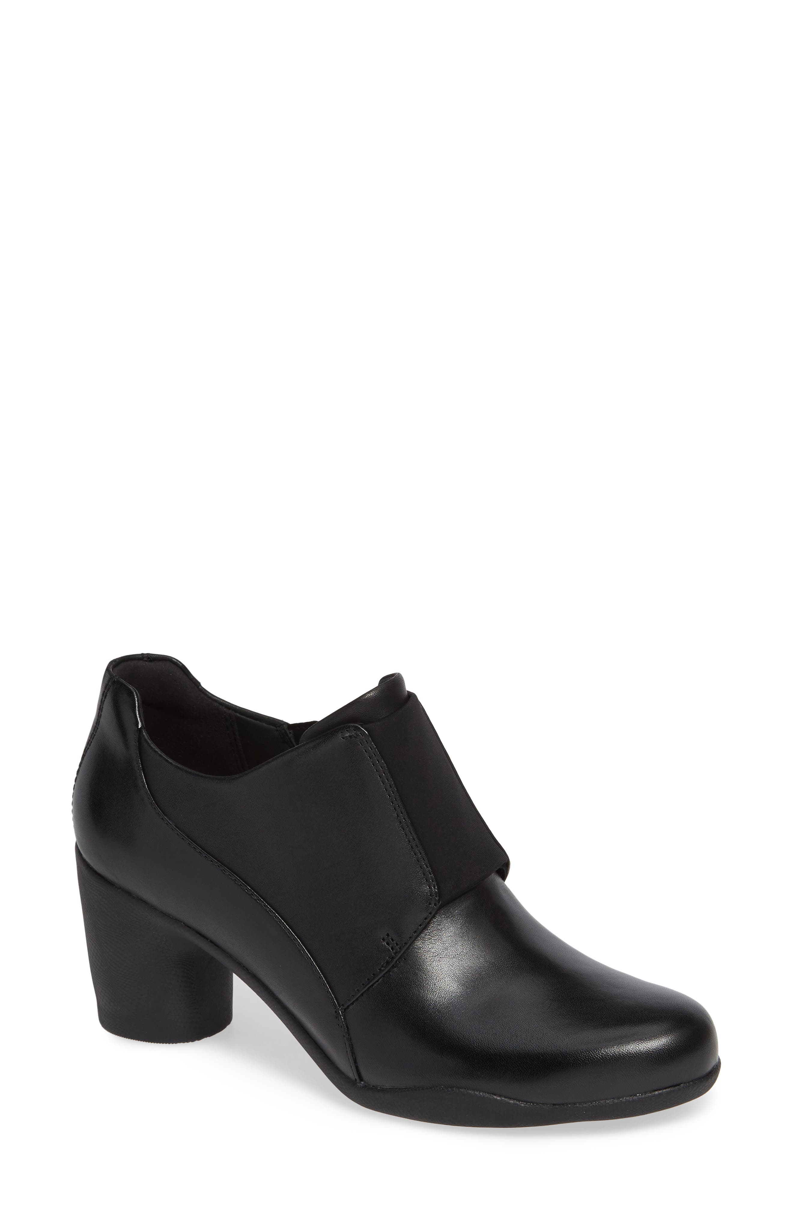 CLARKS<SUP>®</SUP>, Un Rosa Zip Bootie, Main thumbnail 1, color, BLACK LEATHER
