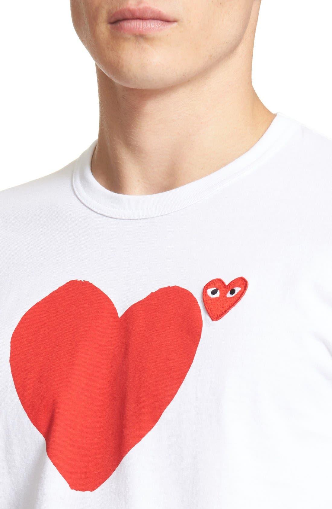 COMME DES GARÇONS PLAY, Graphic T-Shirt, Alternate thumbnail 10, color, WHITE 1