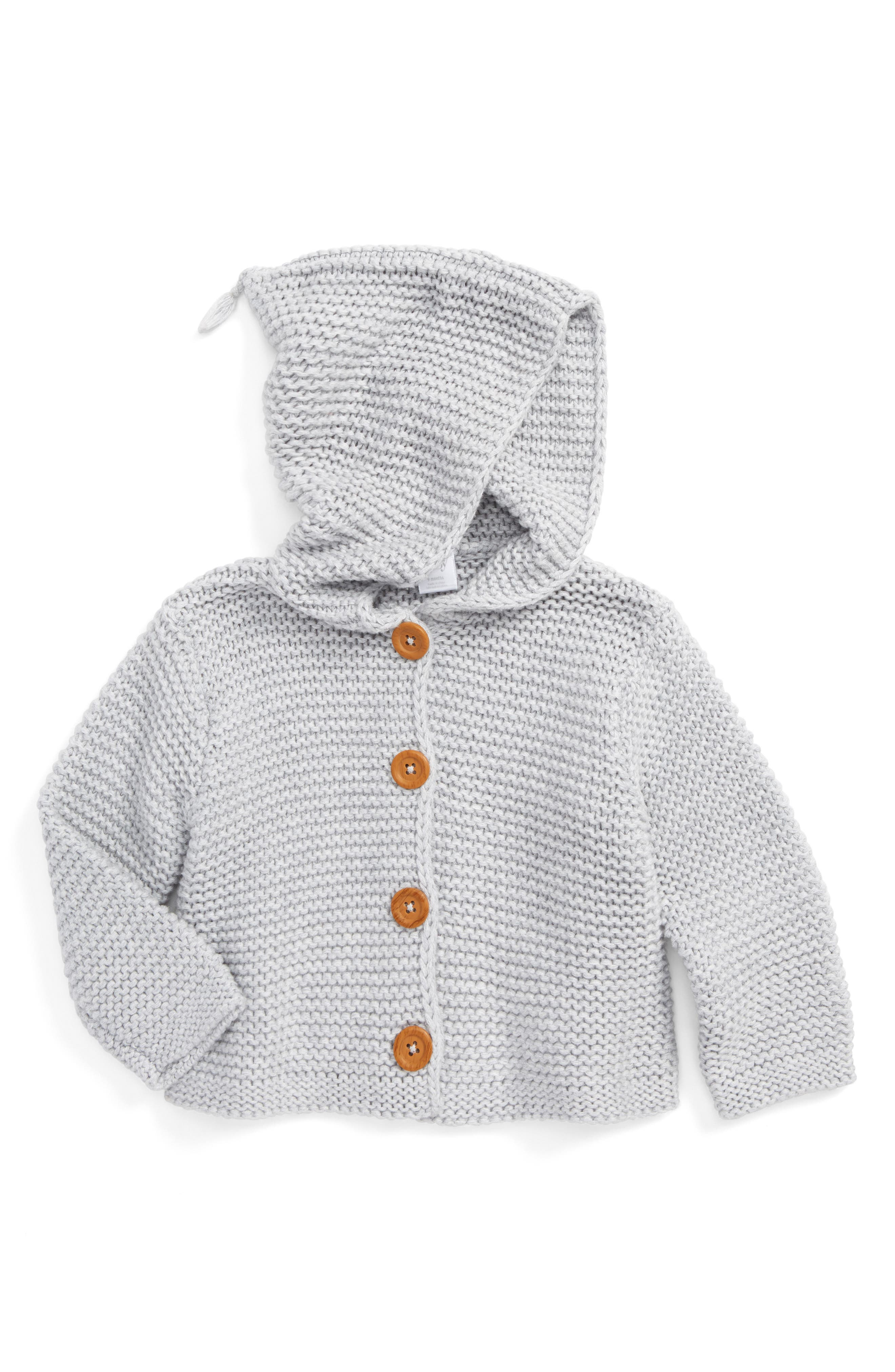 NORDSTROM BABY, Organic Cotton Hooded Cardigan, Main thumbnail 1, color, GREY ASH HEATHER