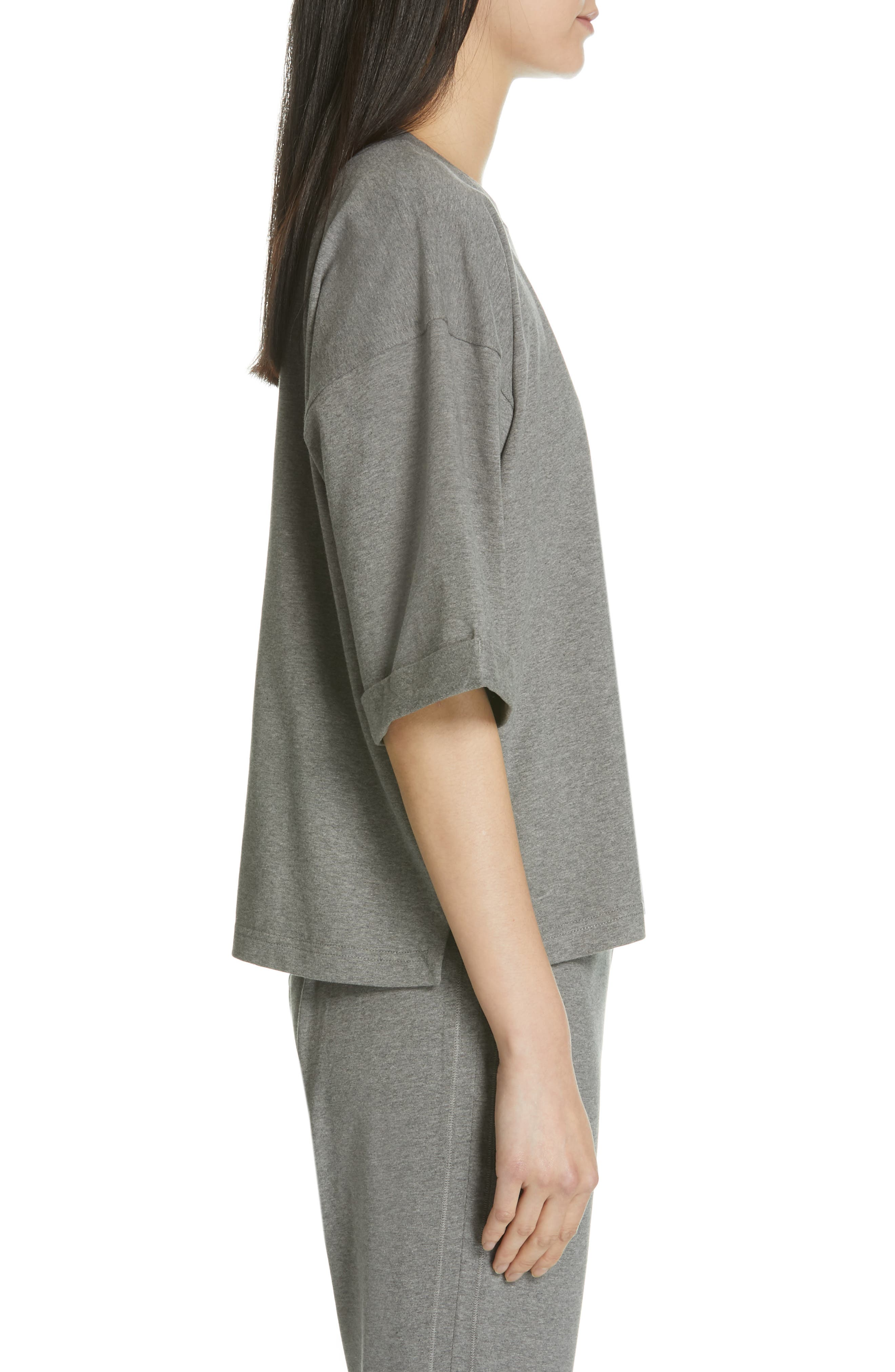 EILEEN FISHER, Stretch Organic Cotton Top, Alternate thumbnail 3, color, MOON