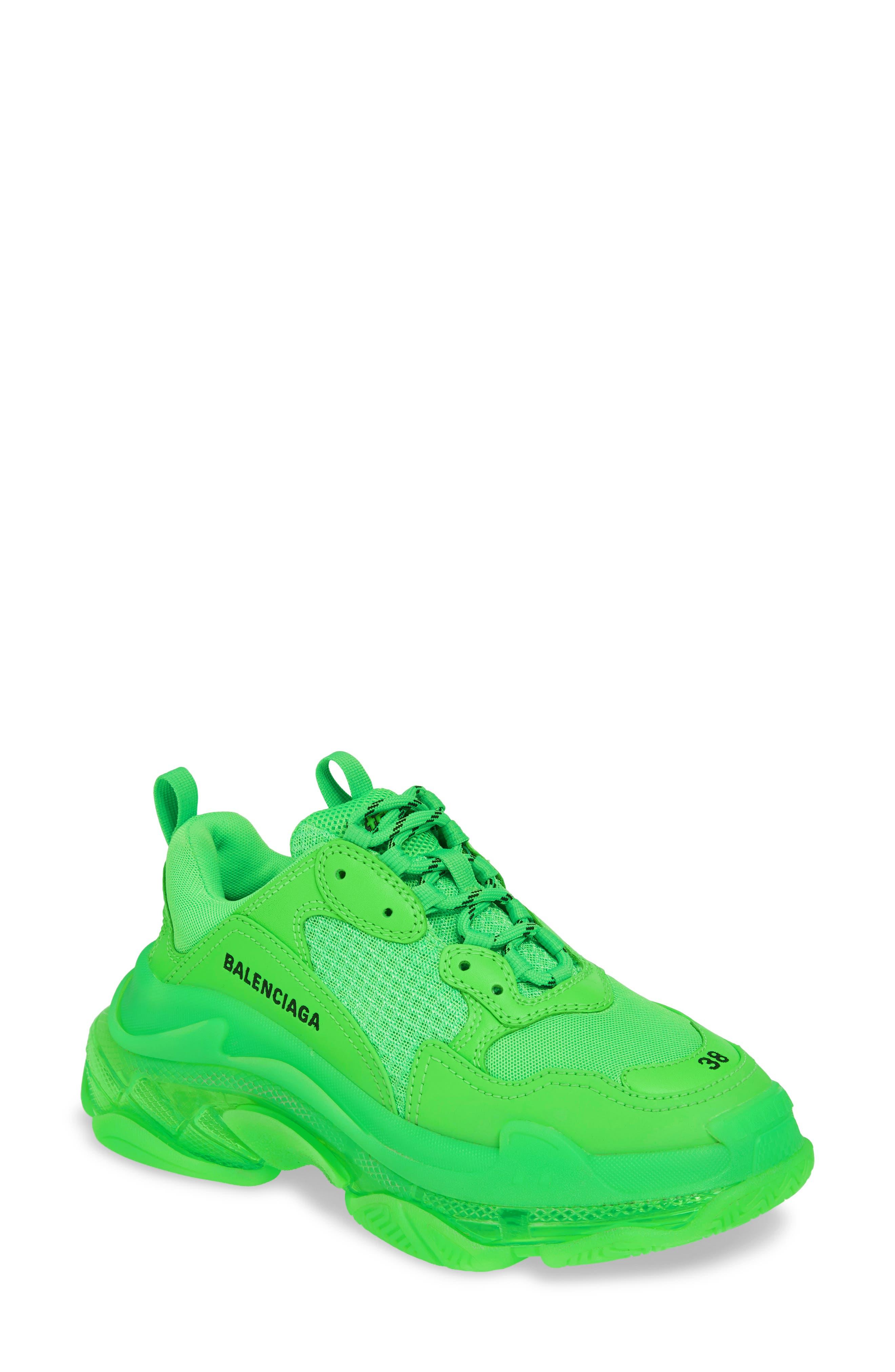 BALENCIAGA, Triple S Low Top Sneaker, Main thumbnail 1, color, GREEN FLUO