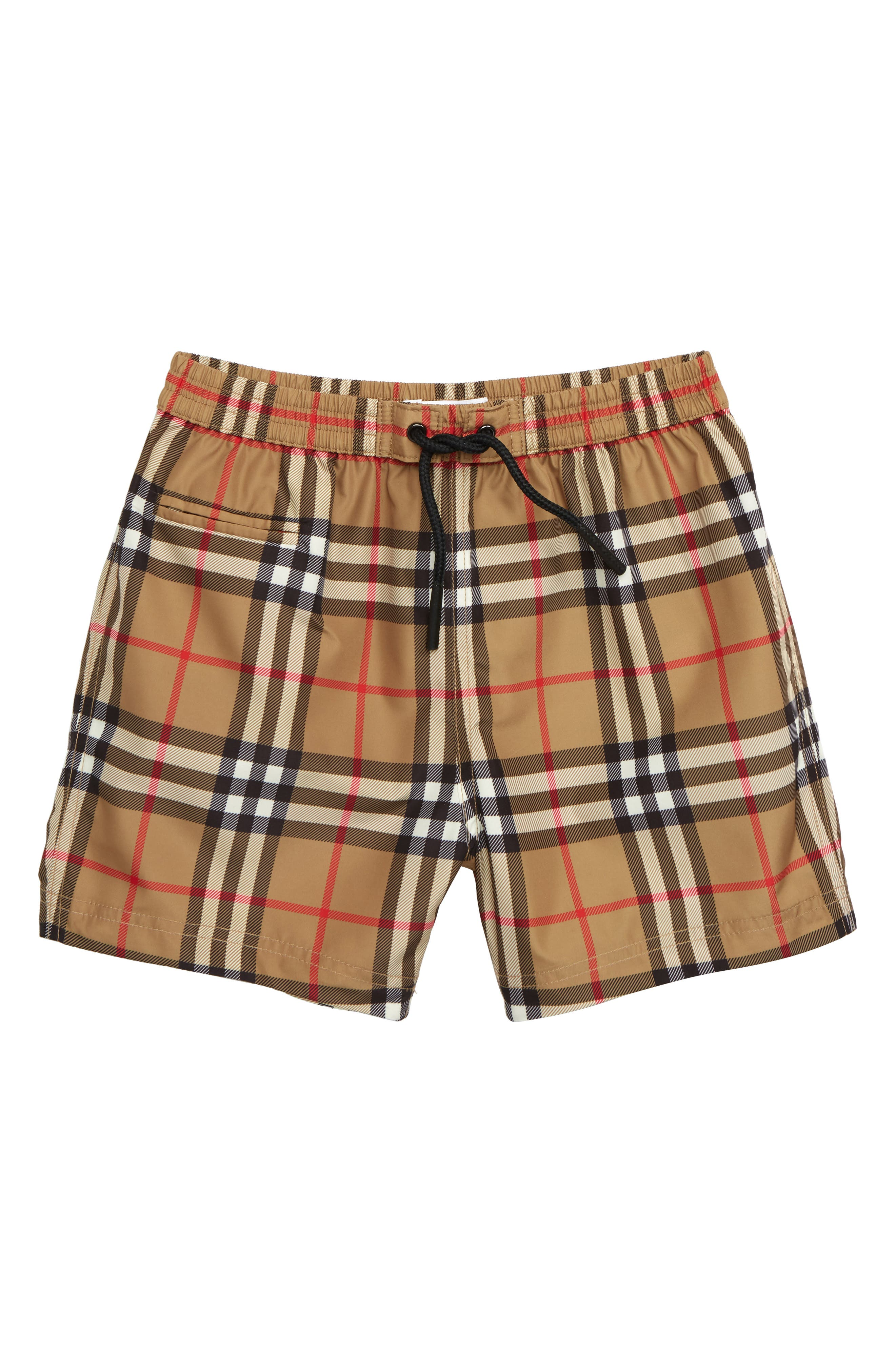 BURBERRY, Galvin Check Swim Trunks, Main thumbnail 1, color, ANTIQUE YELLOW