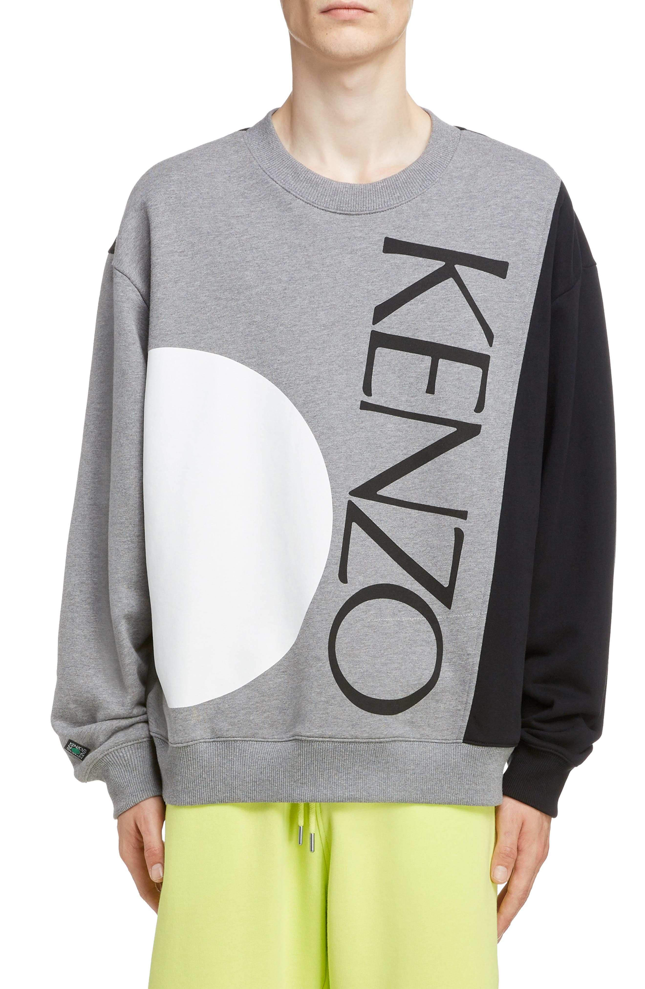 KENZO, Oversize Colorblock Sweatshirt, Main thumbnail 1, color, DOVE GREY
