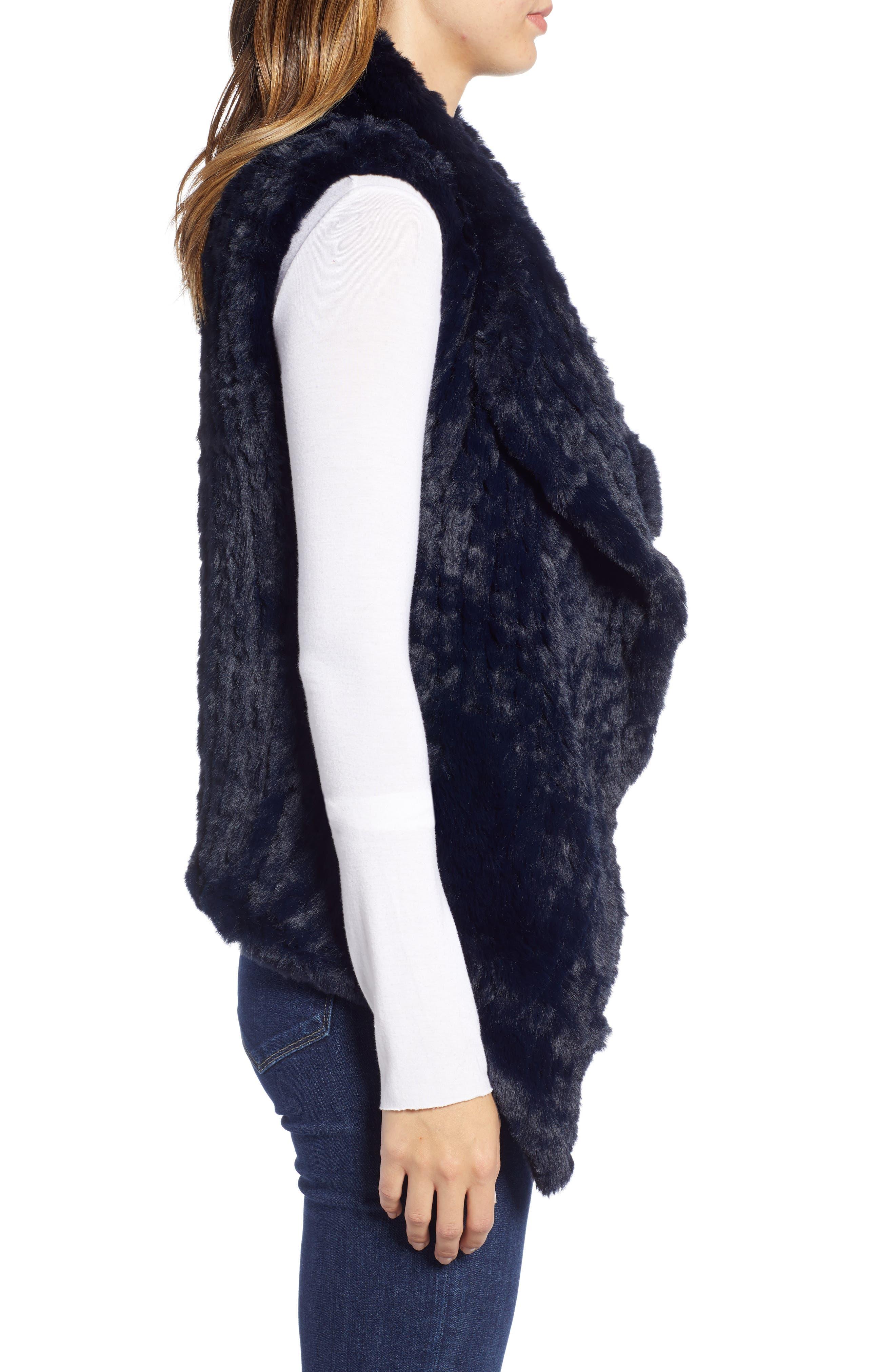 LOVE TOKEN, Faux Fur Vest, Alternate thumbnail 4, color, NAVY