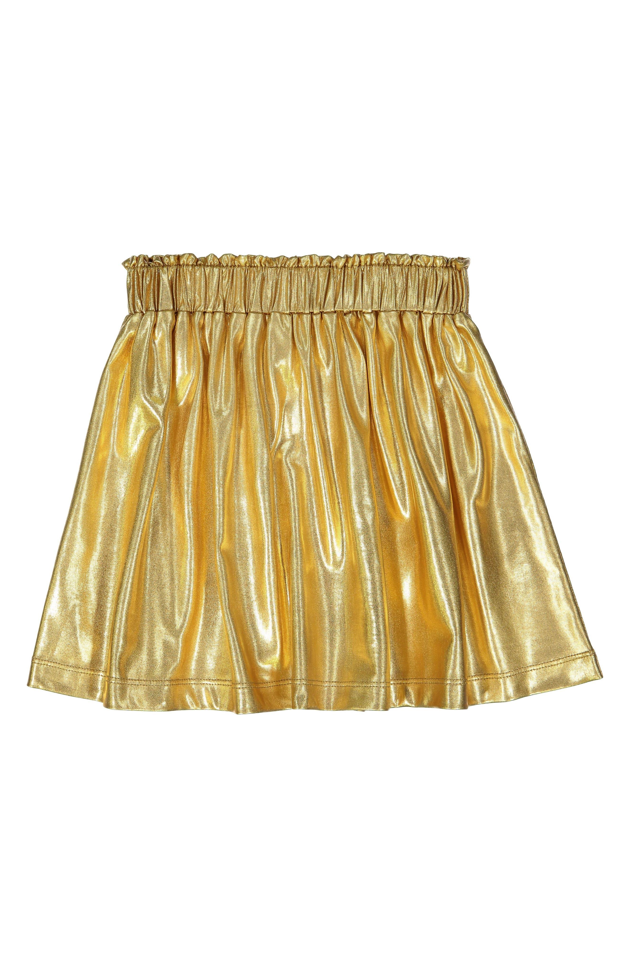 MASALA BABY, Gold Metallic Skirt, Main thumbnail 1, color, GOLD