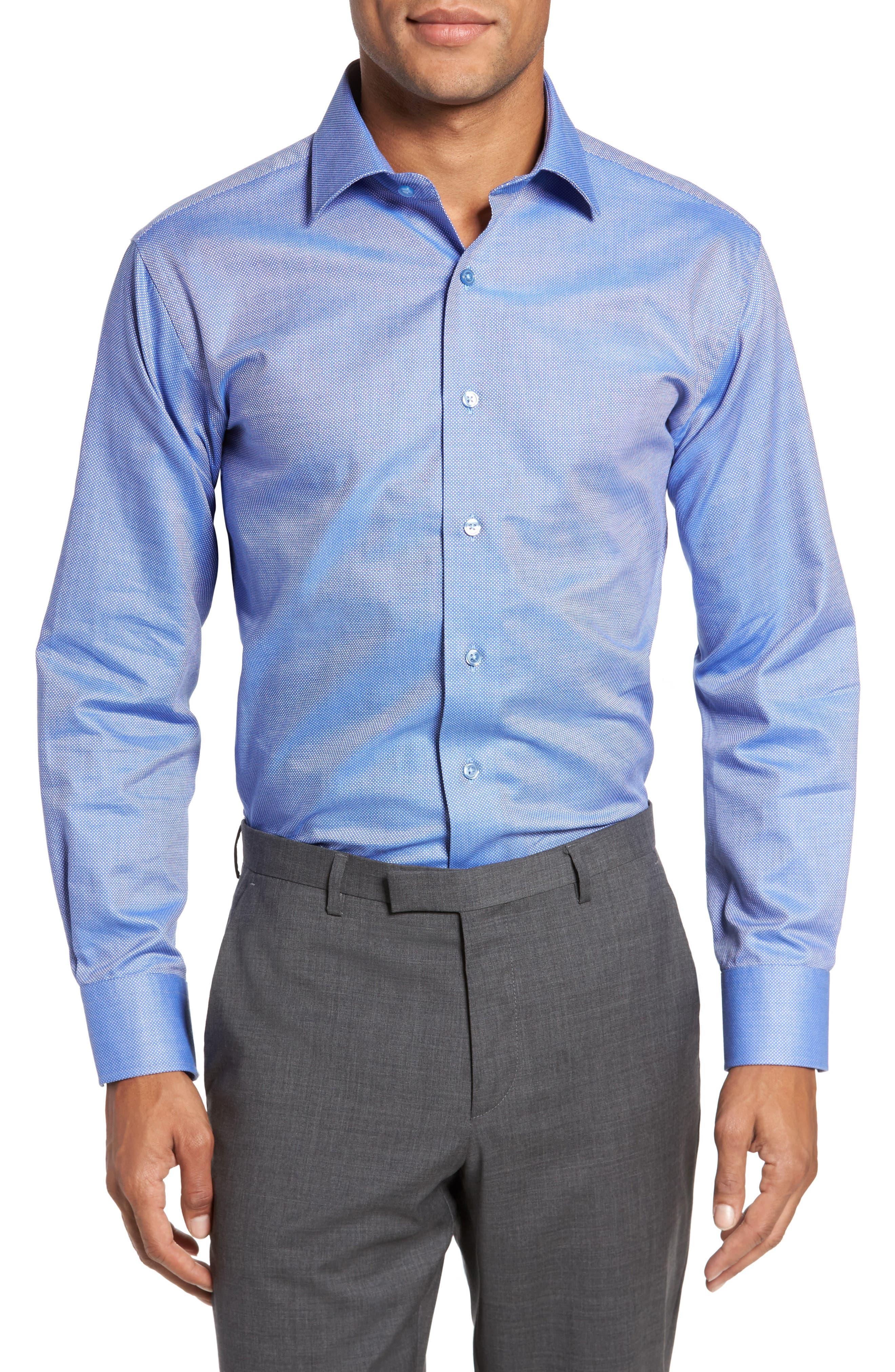 LORENZO UOMO, Trim Fit Textured Dress Shirt, Main thumbnail 1, color, NAVY