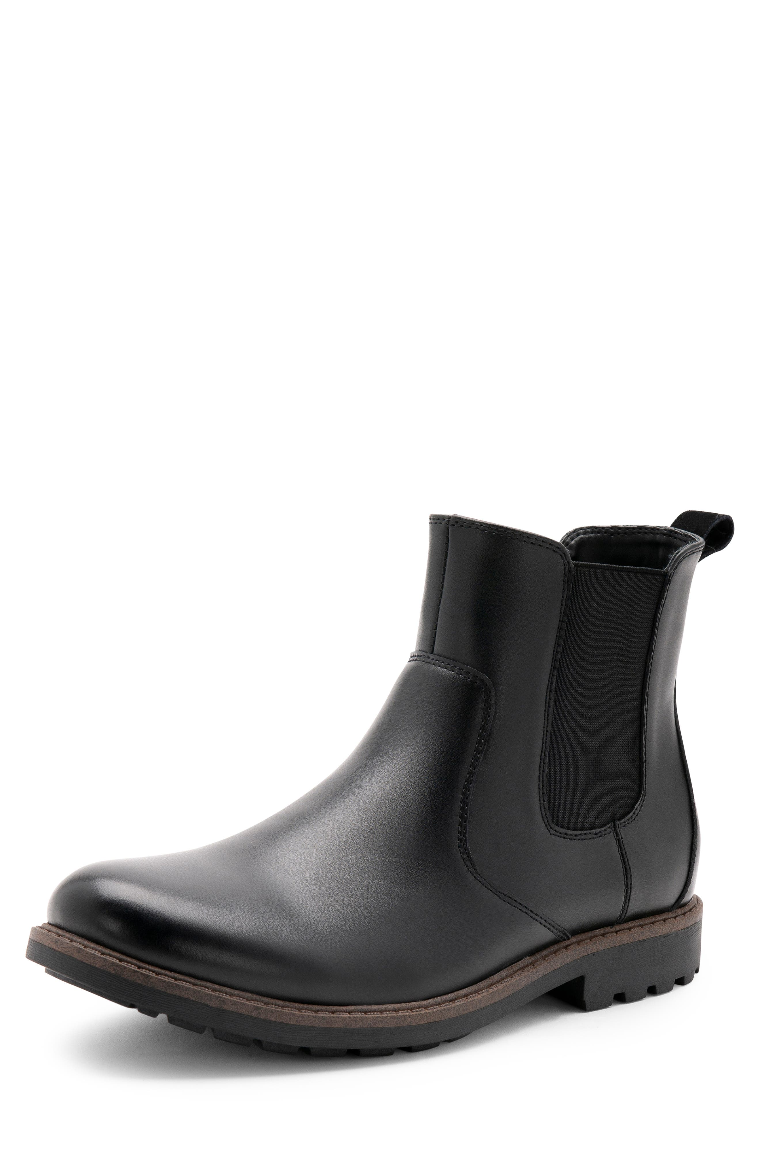 BLONDO, Shadow Waterproof Chelsea Boot, Alternate thumbnail 7, color, BLACK LEATHER