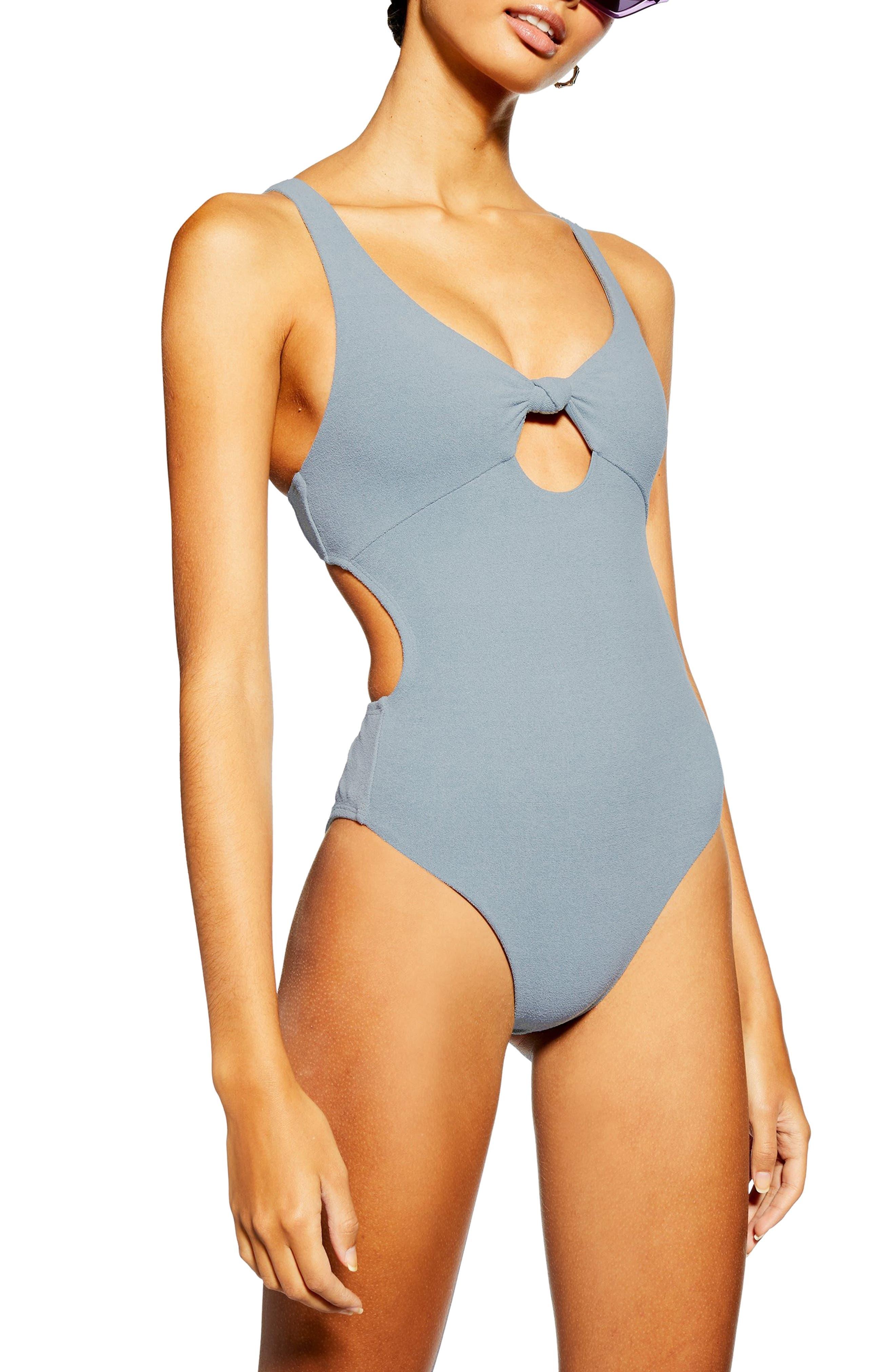 TOPSHOP Knot Velour One-Piece Swimsuit, Main, color, GREY
