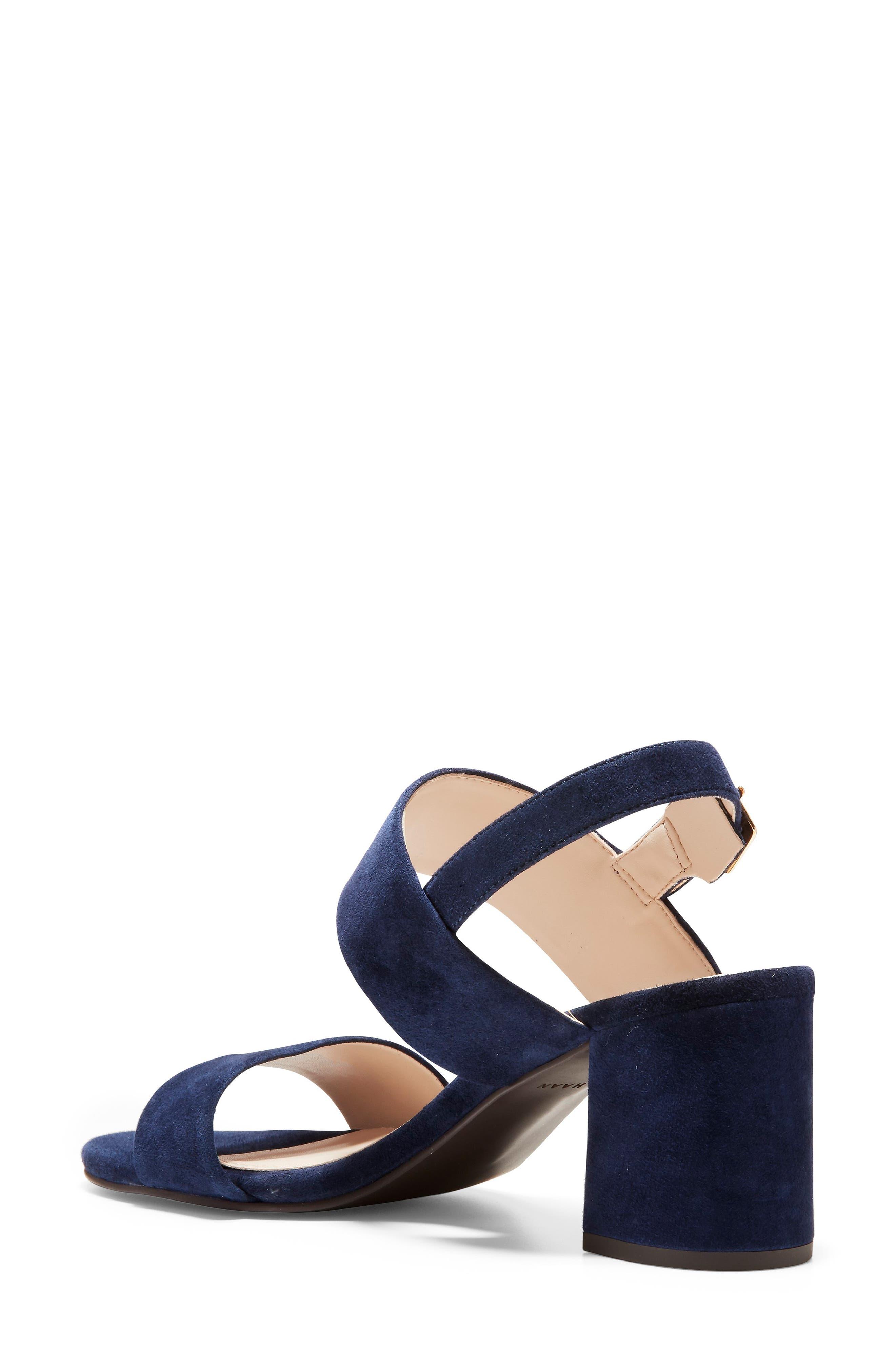 COLE HAAN, Avani Block Heel Sandal, Alternate thumbnail 2, color, MARINE BLUE SUEDE