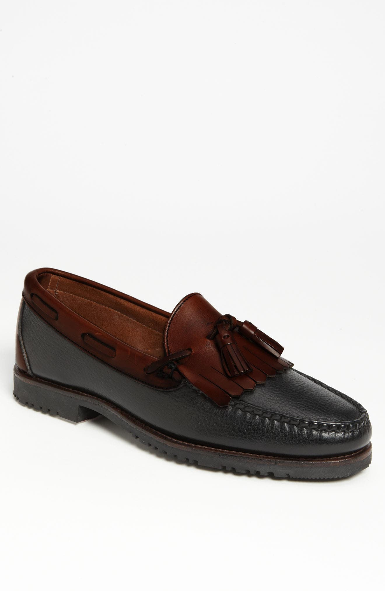 ALLEN EDMONDS, 'Nashua' Tassel Loafer, Alternate thumbnail 4, color, BLACK/ BROWN