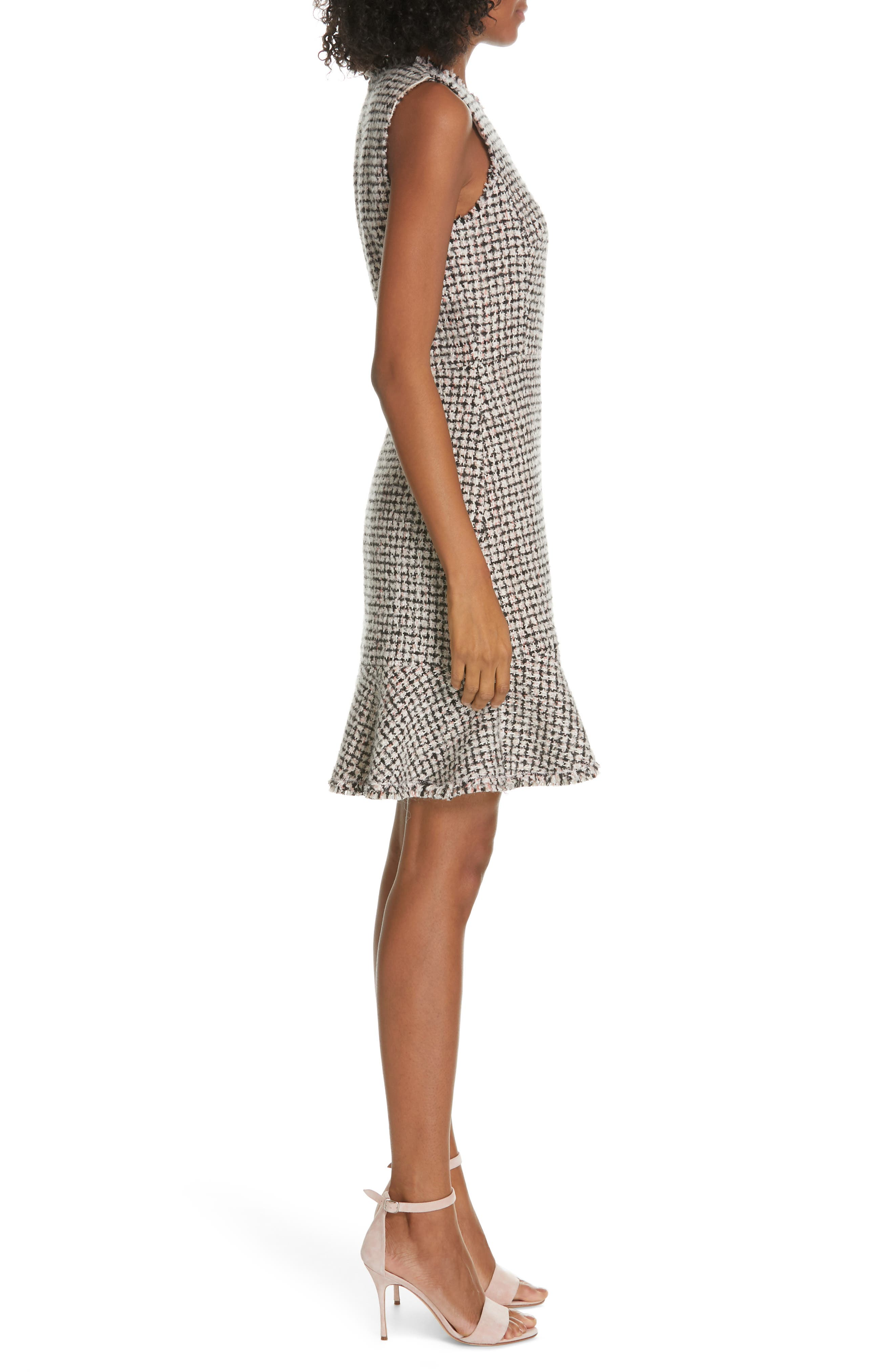 REBECCA TAYLOR, Houndstooth Tweed Dress, Alternate thumbnail 3, color, BLACK/ PINK COMBO