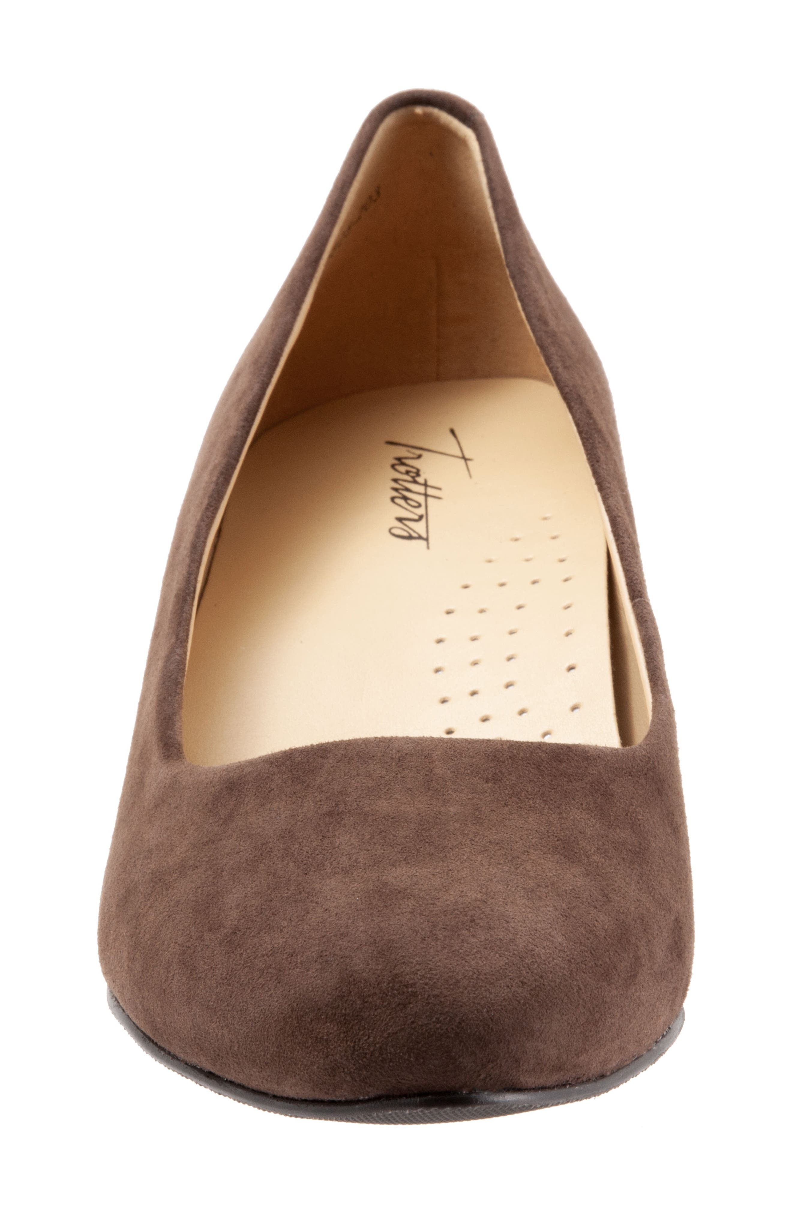 TROTTERS, Kiera Pump, Alternate thumbnail 4, color, DARK BROWN SUEDE