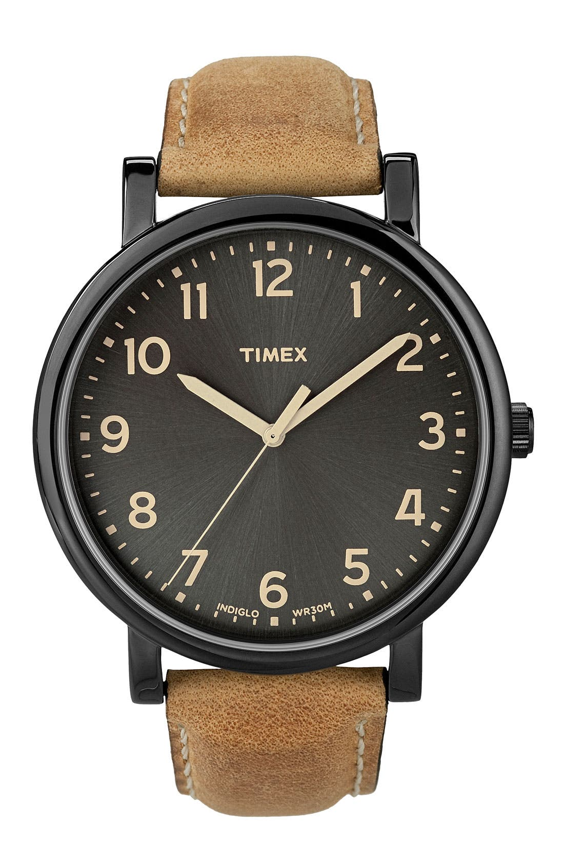 TIMEX<SUP>®</SUP>, 'Easy Reader' Leather Strap Watch, 42mm, Main thumbnail 1, color, 200