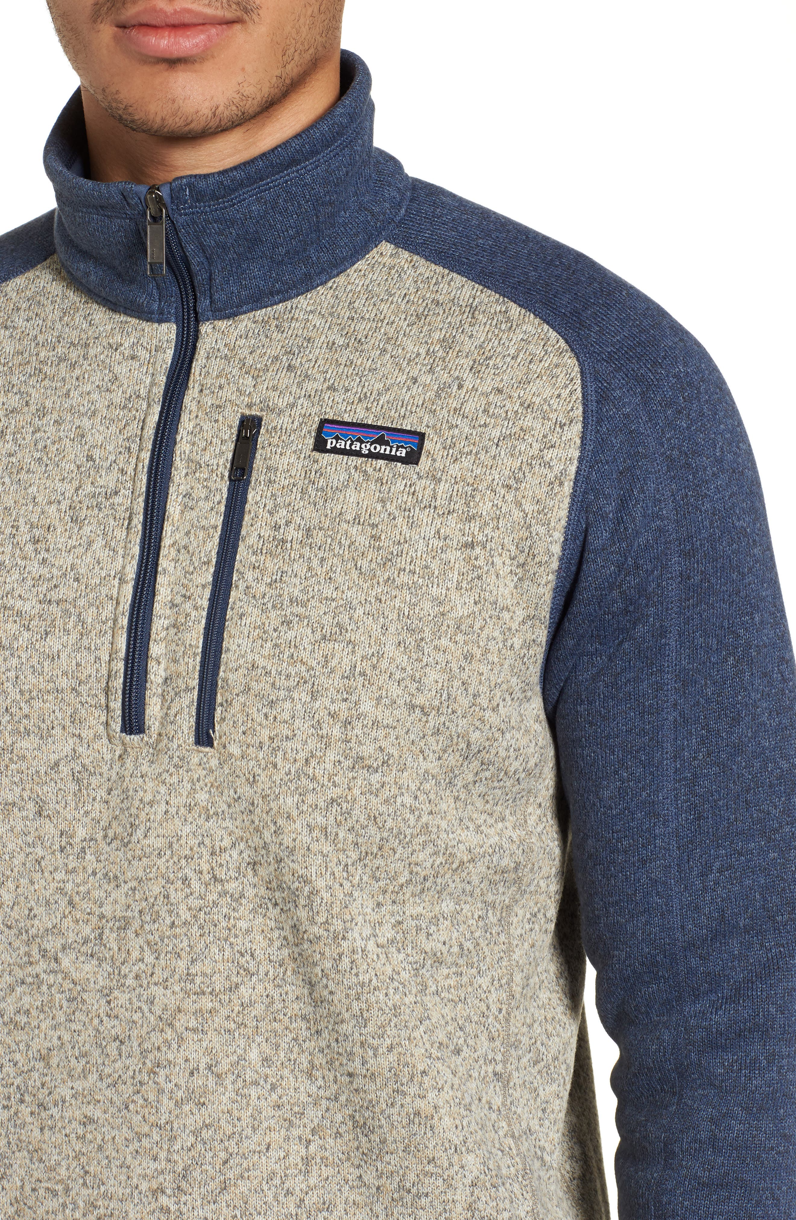 PATAGONIA, Better Sweater Quarter Zip Pullover, Alternate thumbnail 5, color, BLEACHED STONE W/DOLOMITE BLUE