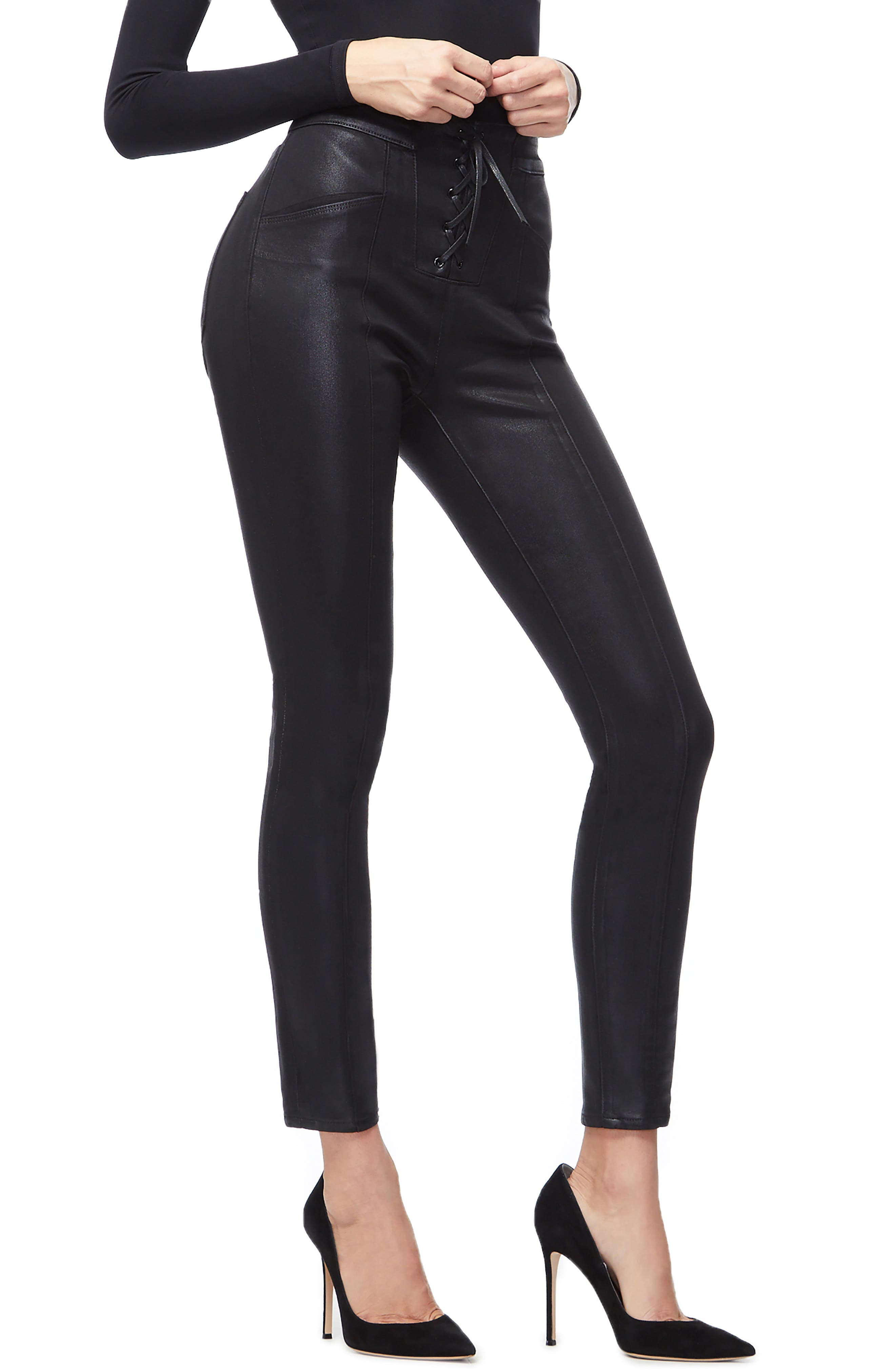GOOD AMERICAN, Coated Lace-Up High Waist Skinny Jeans, Alternate thumbnail 4, color, BLACK034