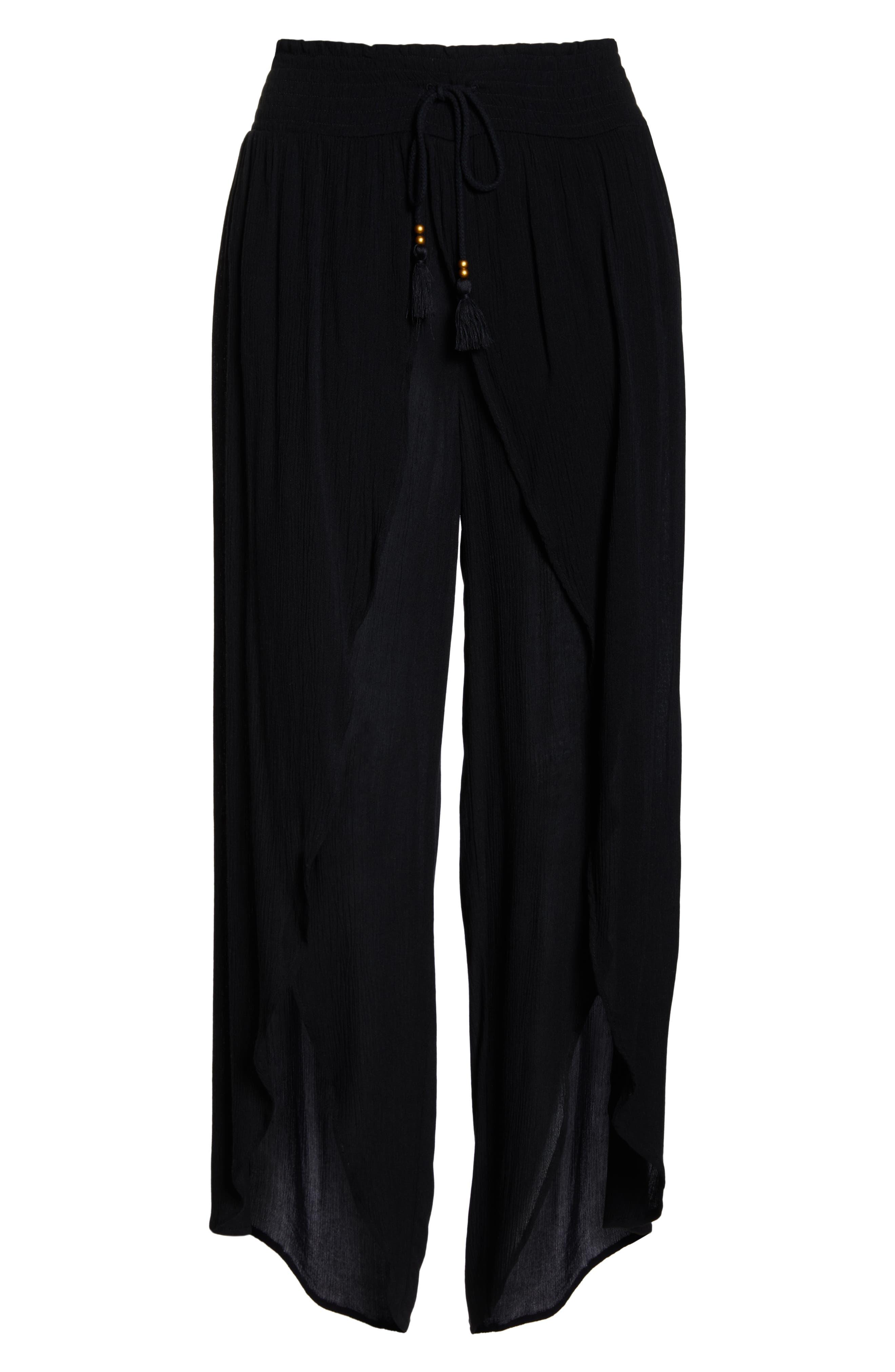 CHELSEA28, Gauze Cover-Up Pants, Alternate thumbnail 6, color, BLACK