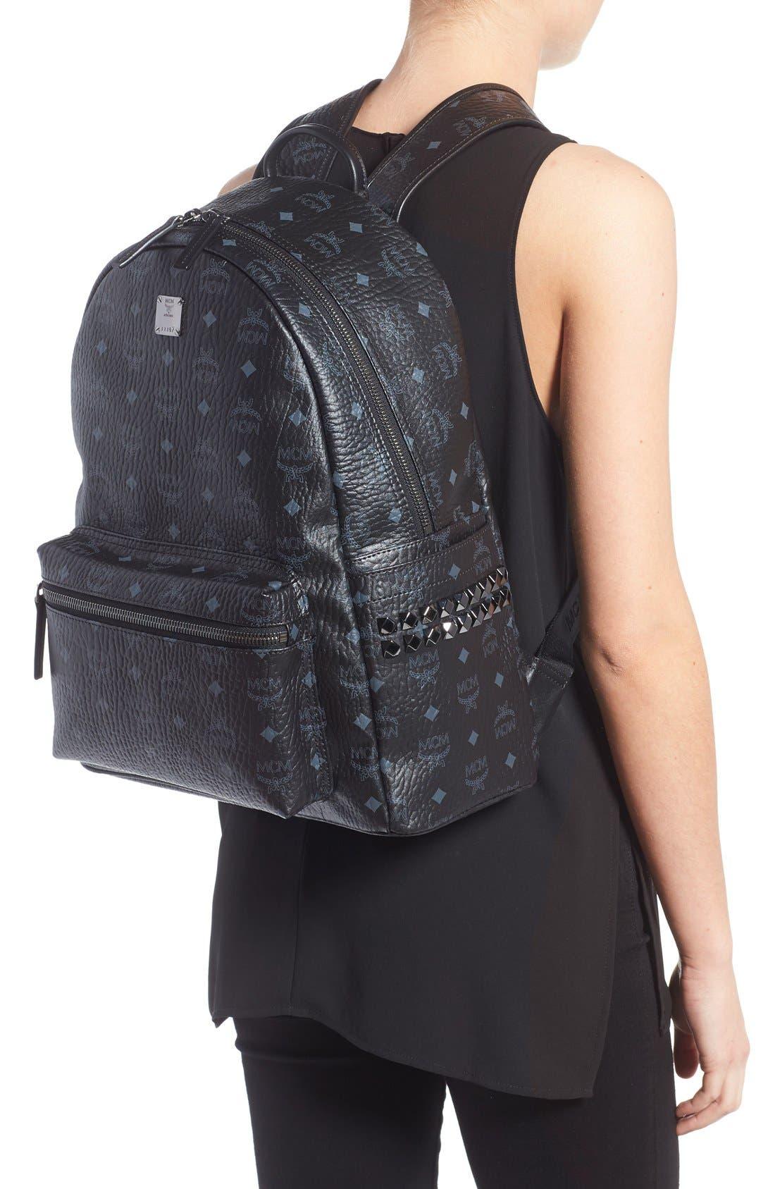 MCM, Medium Stark Visetos Coated Canvas Backpack, Alternate thumbnail 4, color, BLACK