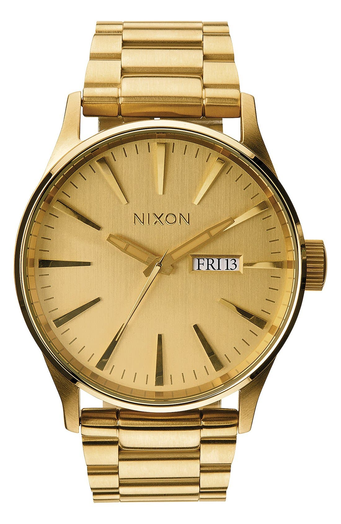 NIXON, Sentry Bracelet Watch, 42mm, Alternate thumbnail 3, color, GOLD