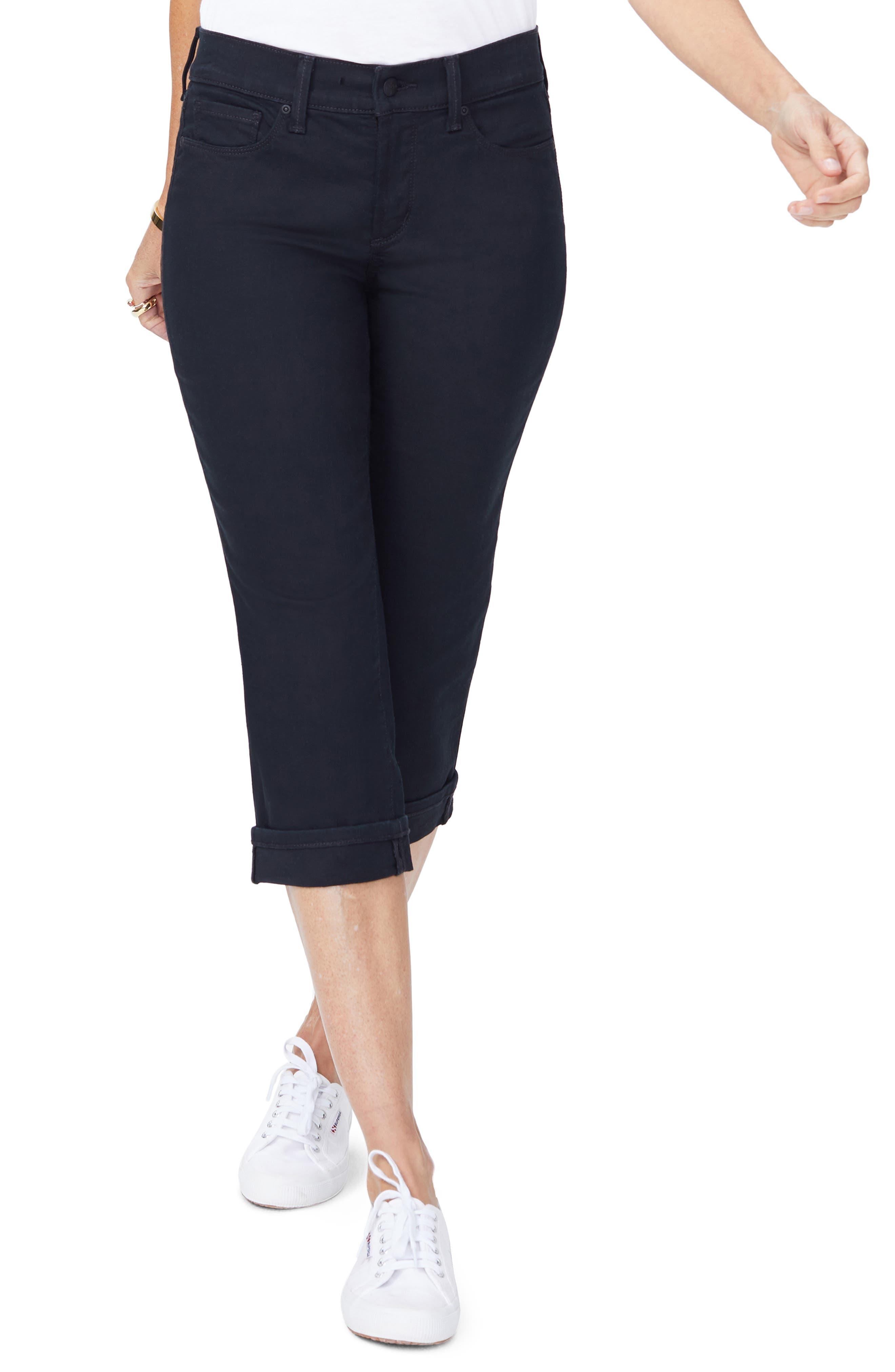 NYDJ Marilyn Crop Jeans, Main, color, BLACK