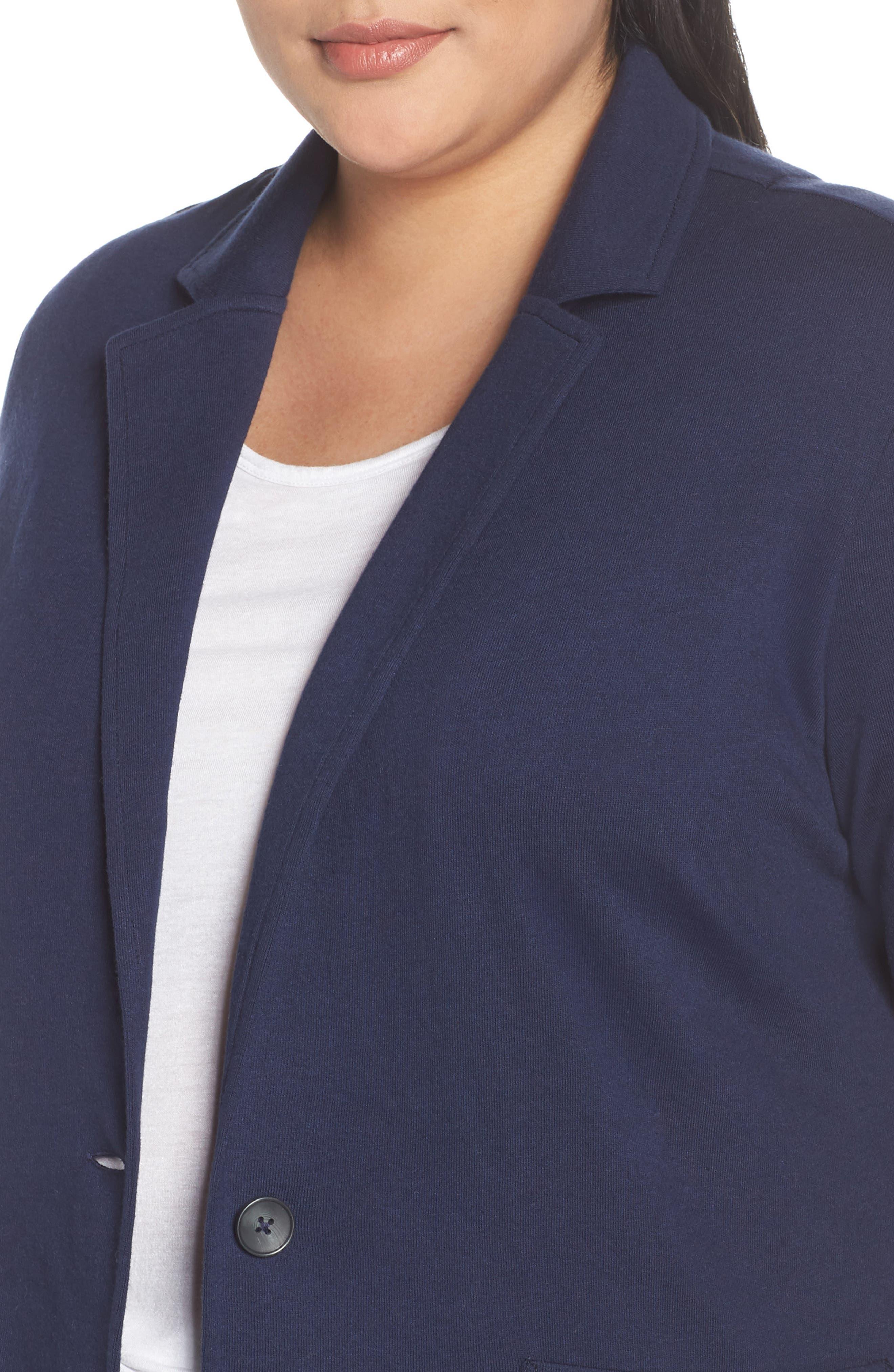 CASLON<SUP>®</SUP>, Double Pocket Knit Blazer, Alternate thumbnail 5, color, NAVY PEACOAT