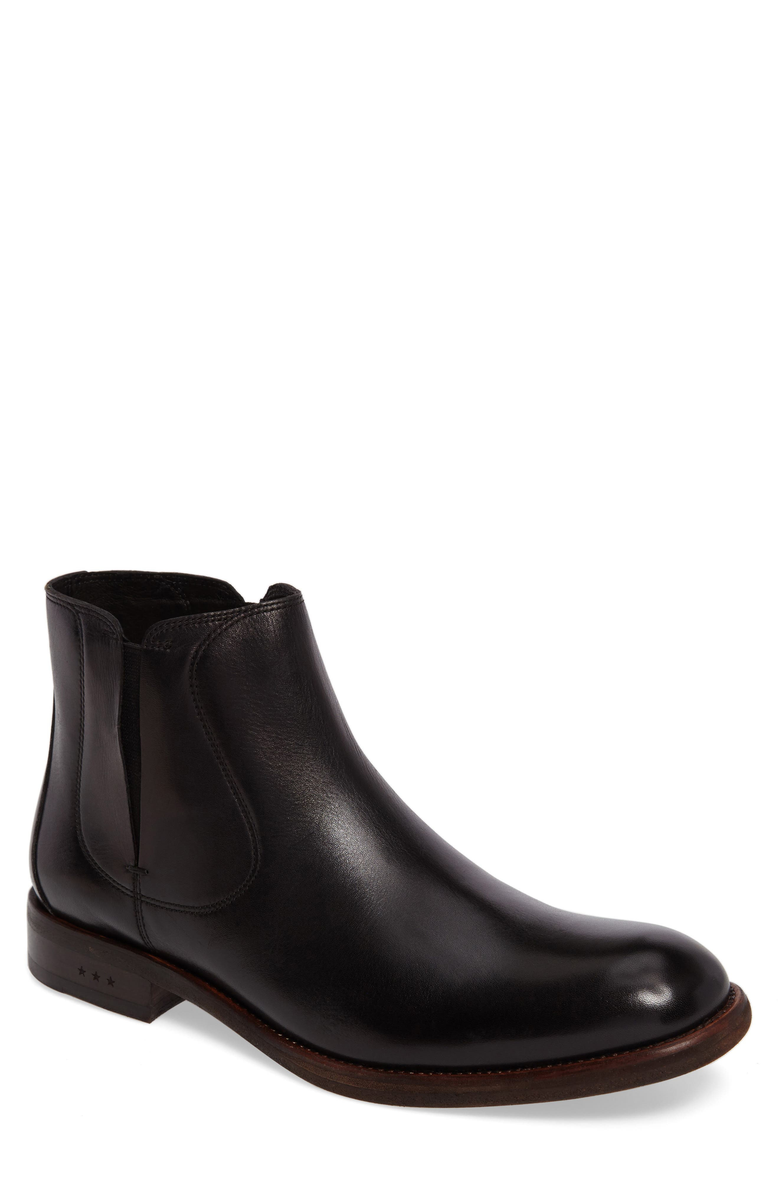 JOHN VARVATOS STAR USA, Waverley Chelsea Boot, Main thumbnail 1, color, BLACK LEATHER