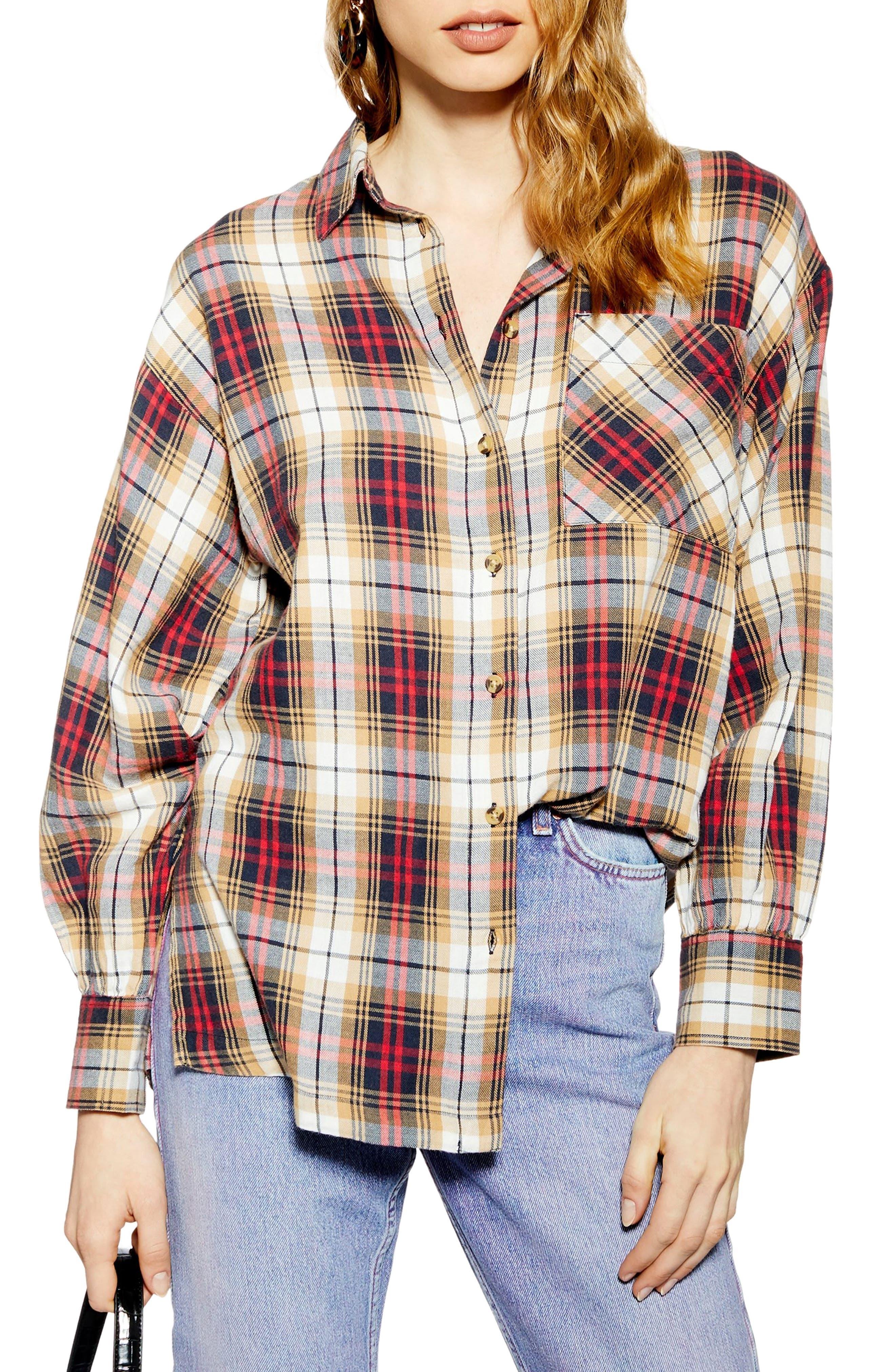 TOPSHOP, Murphy Check Shirt, Main thumbnail 1, color, 252